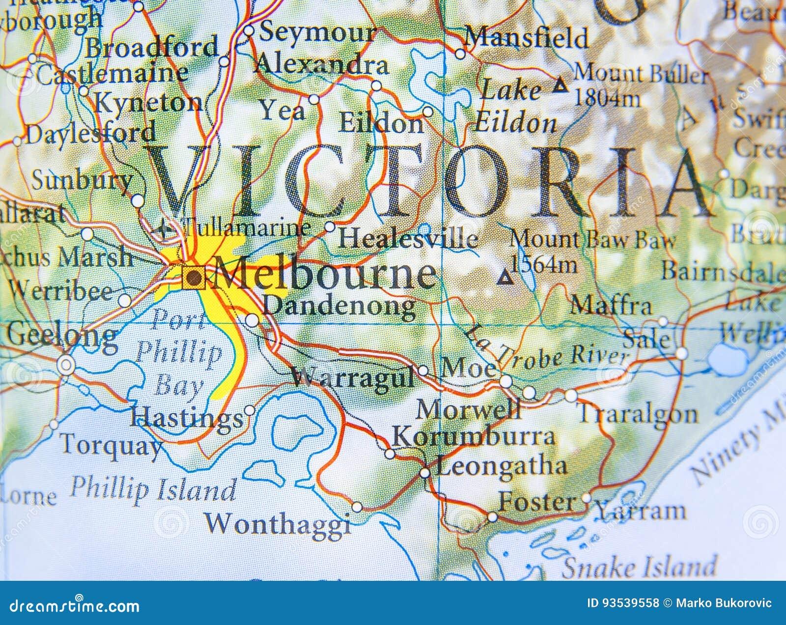 Cartina Geografica Dell Australia.Mappa Geografica Dell Australia Con La Citta Di Melbourne