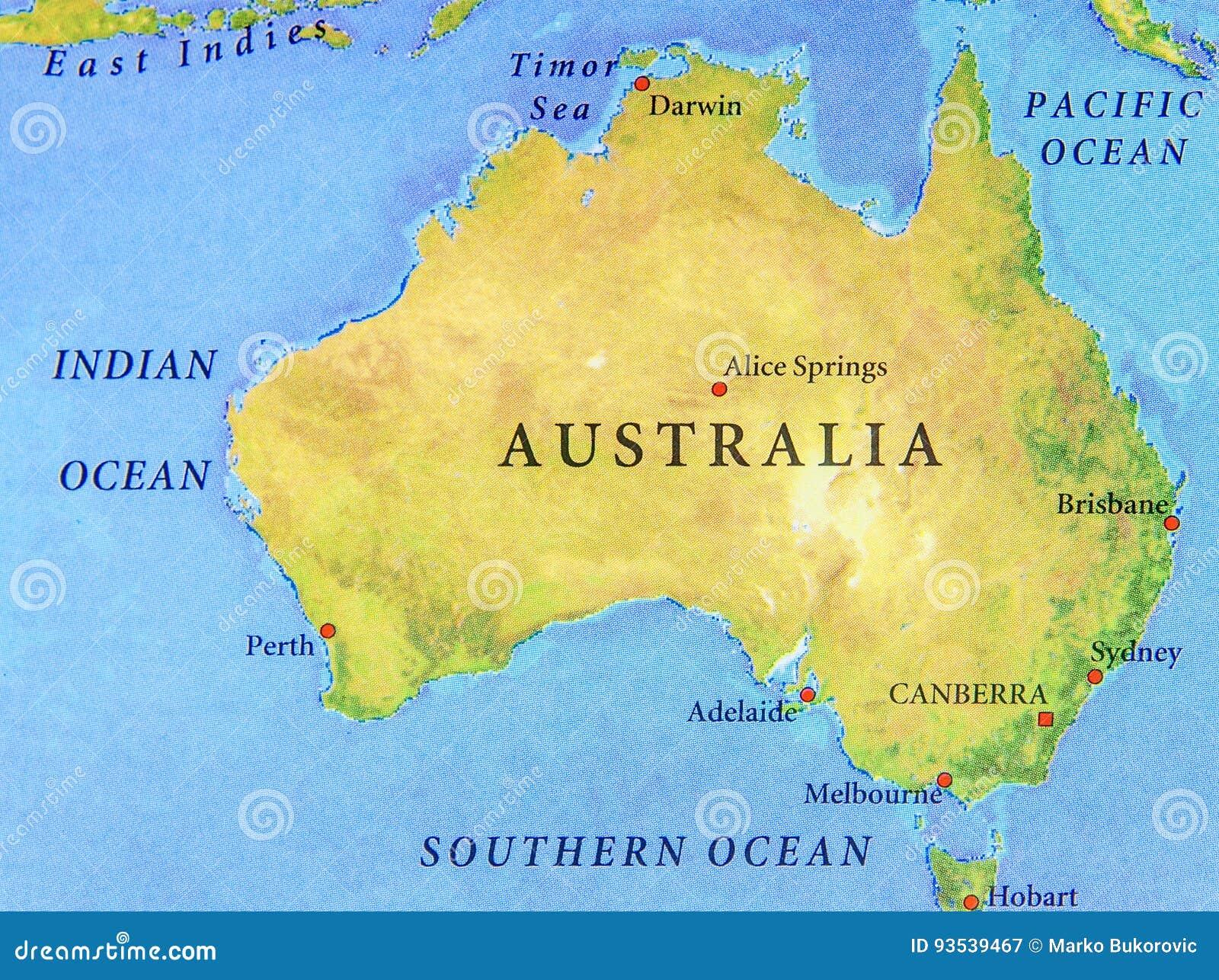 Cartina Geografica Dell Australia.Mappa Geografica Dell Australia Con Le Citta Importanti Immagine