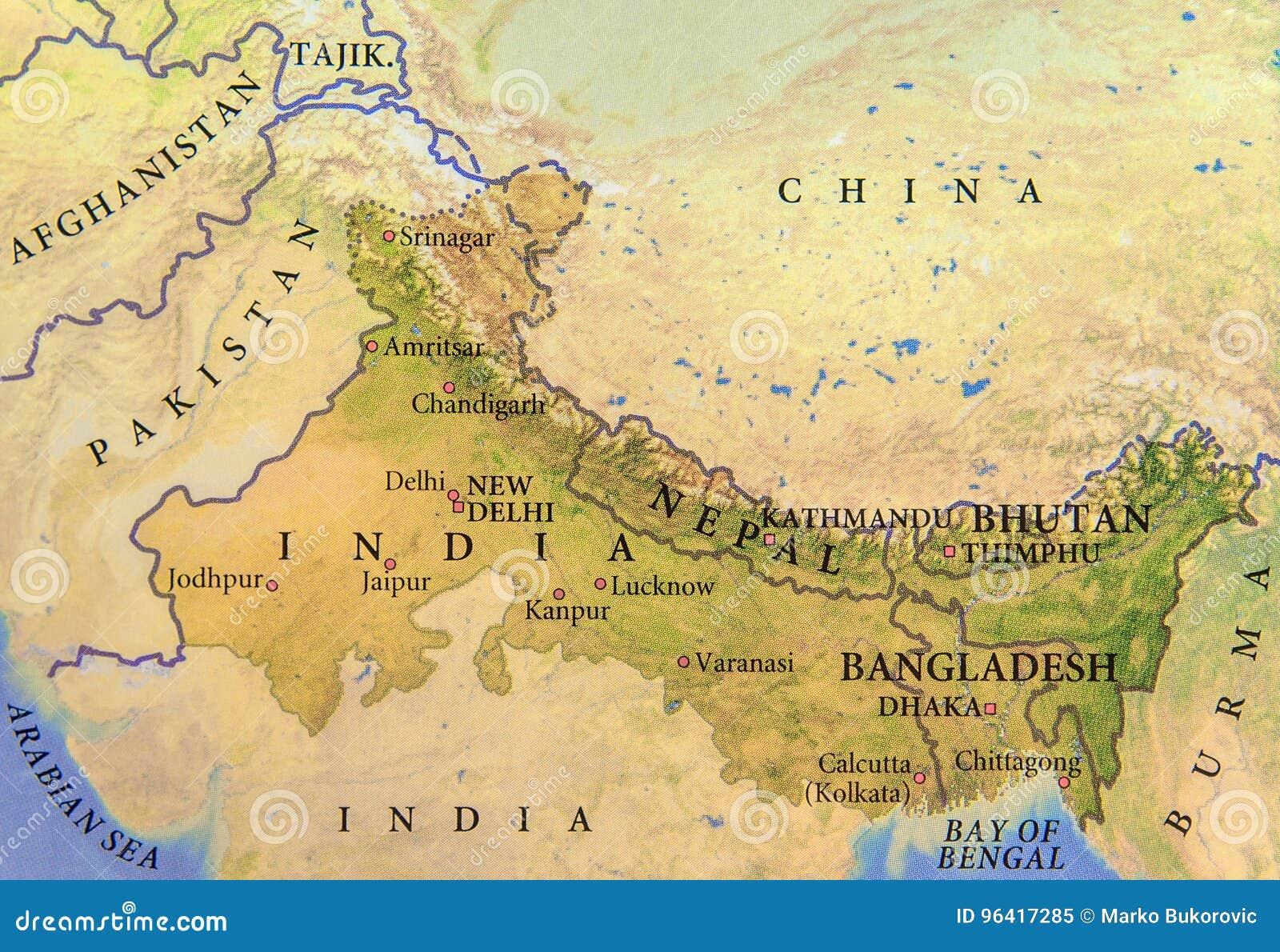 Cartina Dettagliata Del Nepal.Mappa Geografica Dell India Del Nepal Del Bhutan E Del