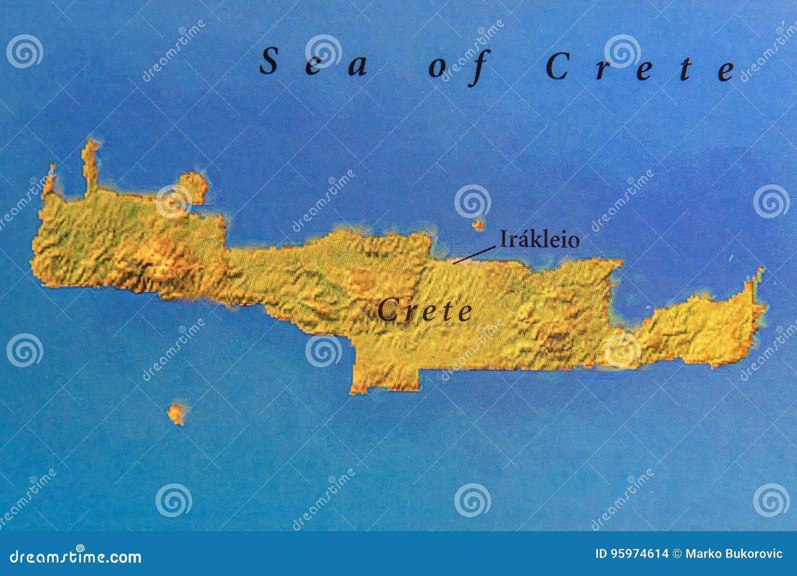 Cartina Geografica Isola Di Creta.Mappa Geografica Dell Isola Di Creta Dell Europeo Fotografia Stock Immagine Di Destinazione Paese 95974614