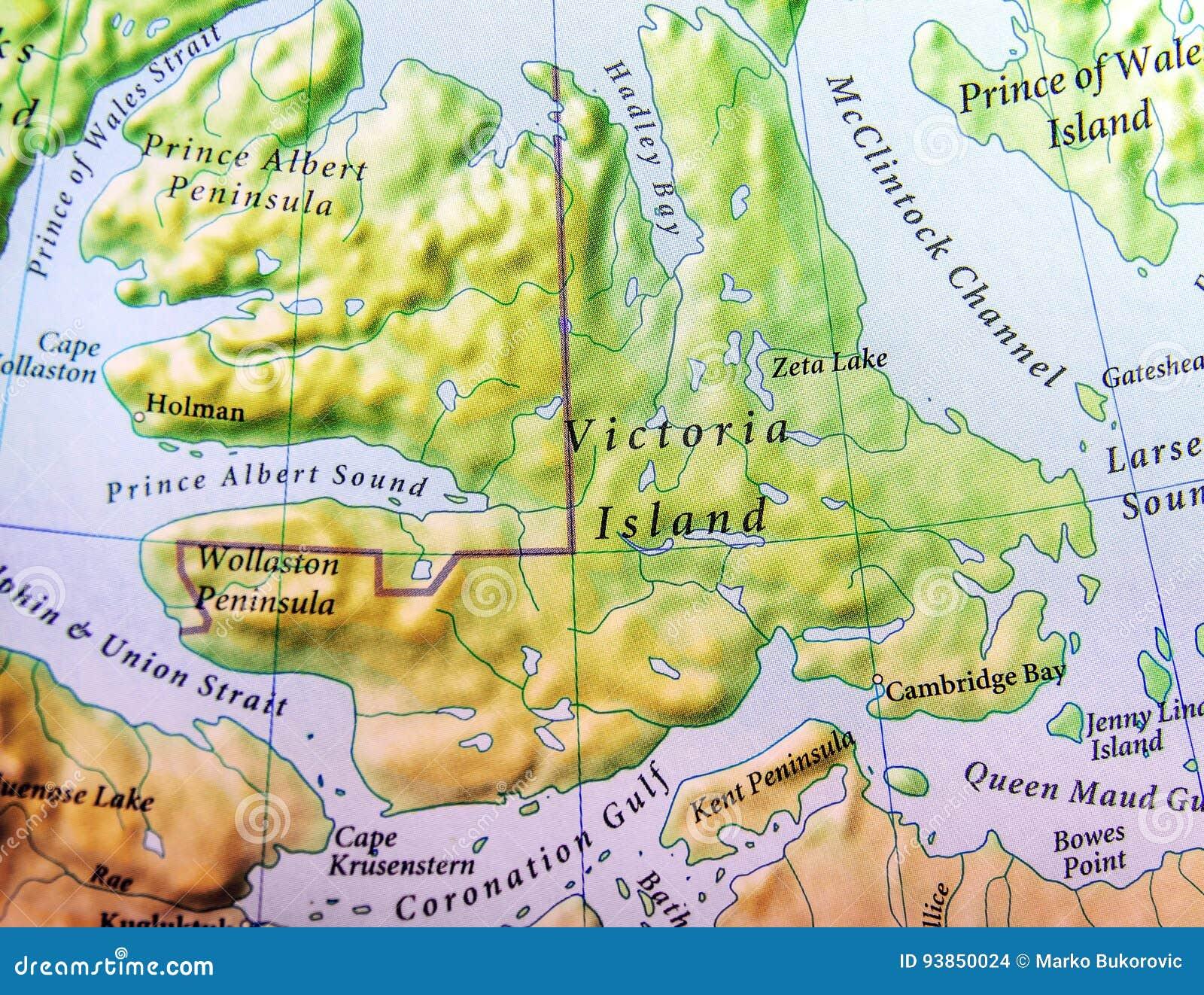 Mappa Geografica Dellisola Victoria Island Del Canada Fotografia