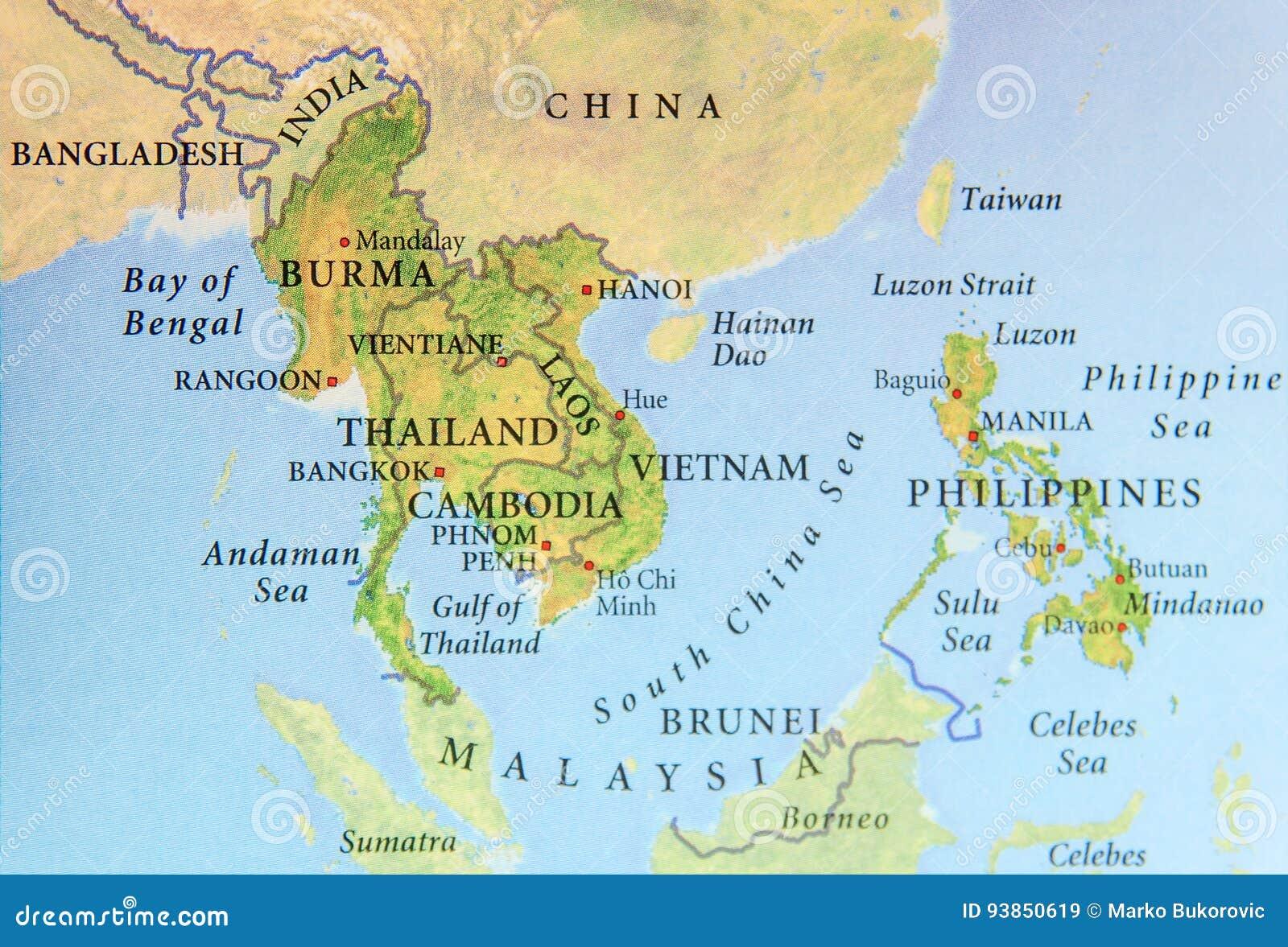 Tra Vietnam E Thailandia Cartina Geografica.Mappa Geografica Della Birmania Della Tailandia Della Cambogia Del Vietnam E Di Filippine Con Le Citta Importanti Immagine Stock Immagine Di Chiusura Geografico 93850619