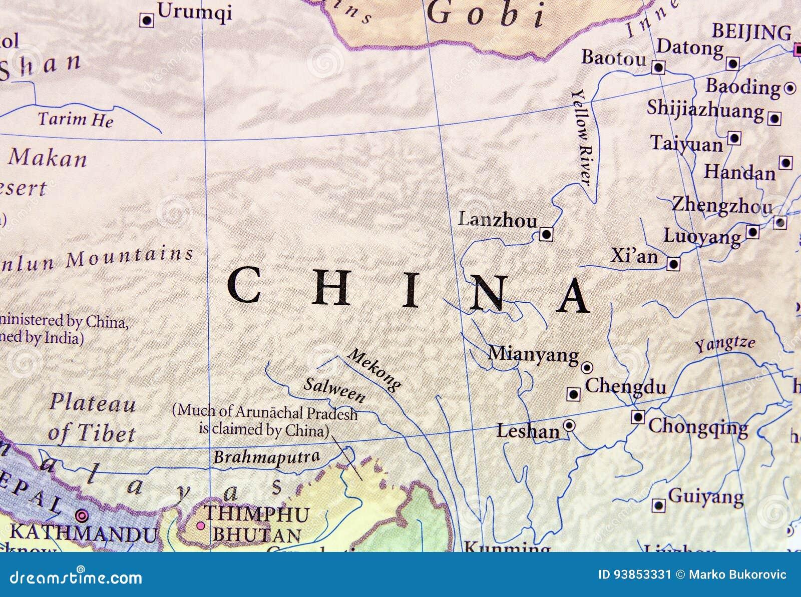 Cartina Geografica Della Cina.Mappa Geografica Della Cina Con Le Citta Importanti Immagine Stock Immagine Di Realistico Repubblica 93853331