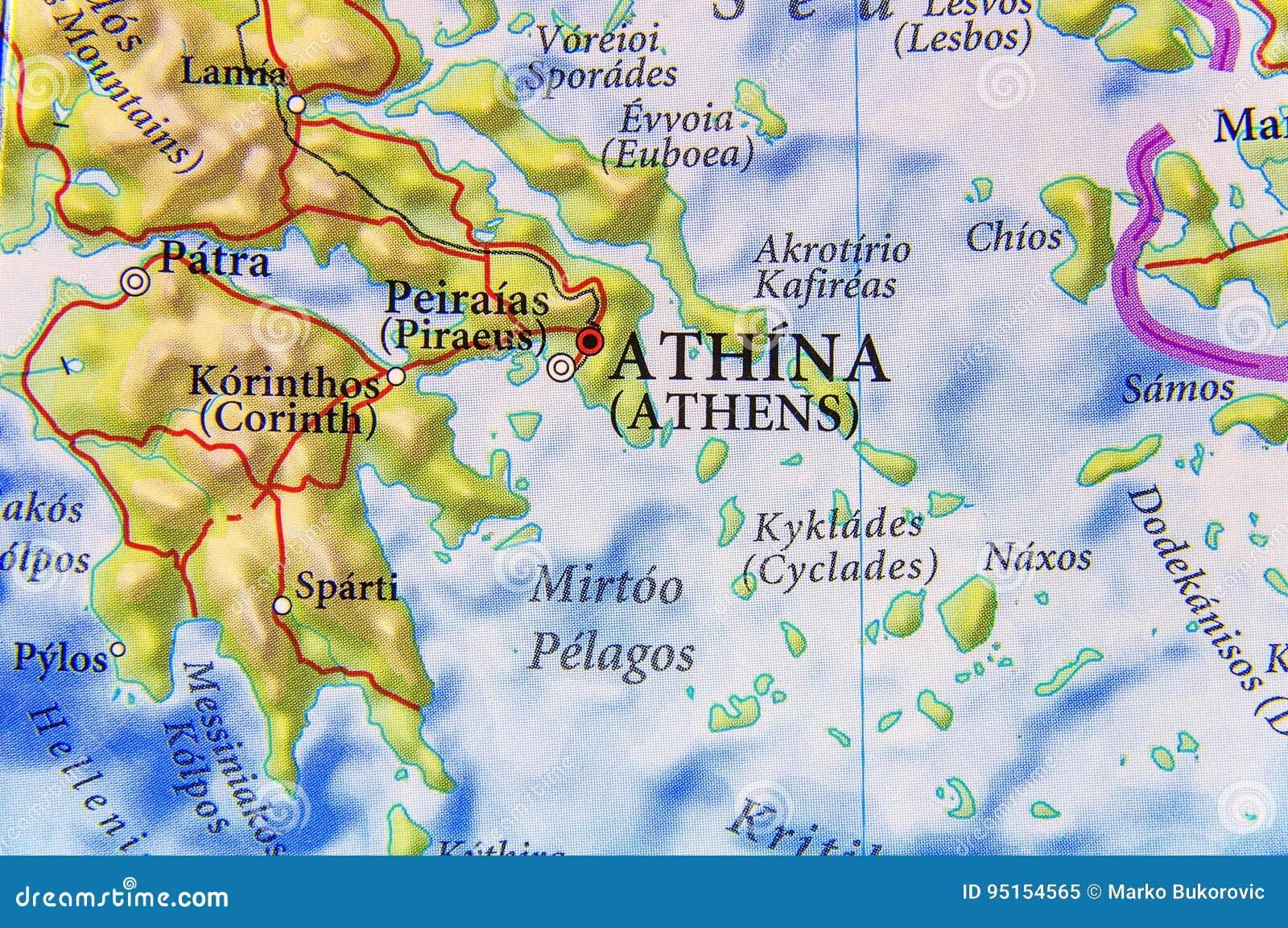 Cartina Geografica Della Grecia.Mappa Geografica Della Citta Atene Della Grecia Del Paese