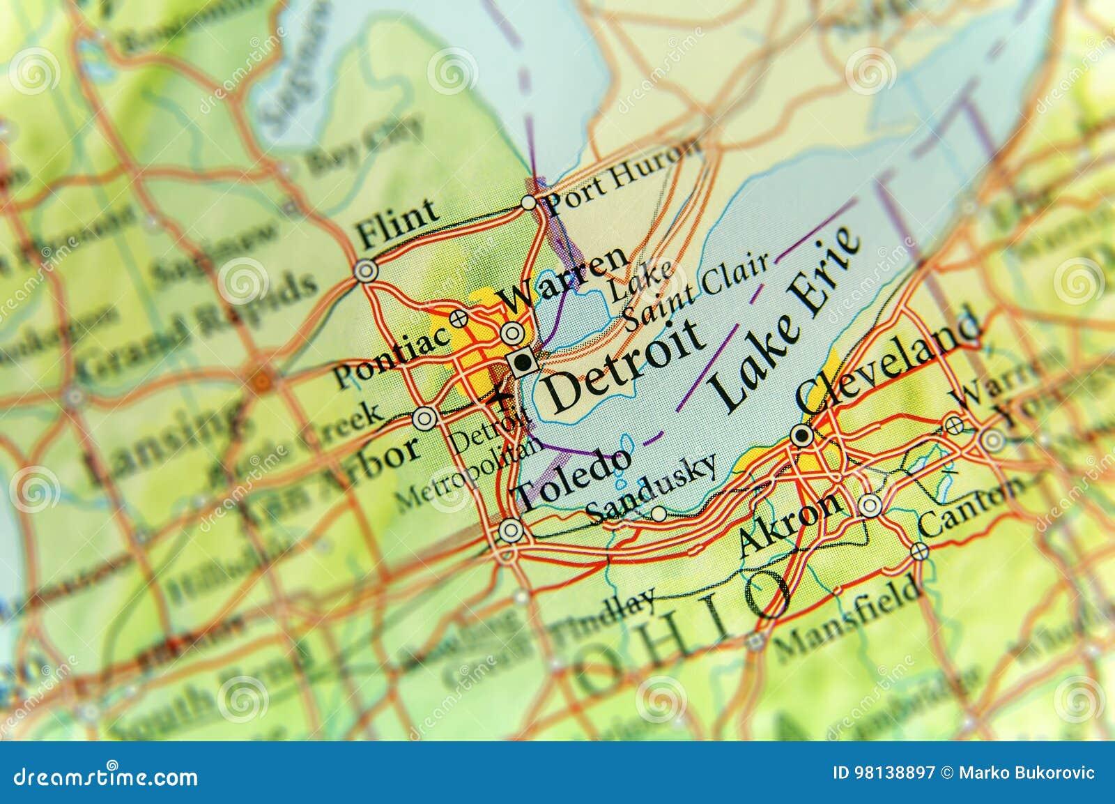 Cartina Topografica Usa.Mappa Geografica Della Citta Dello Stato Usa Michigan E Di Detroit Immagine Stock Immagine Di Posizione Distretto 98138897