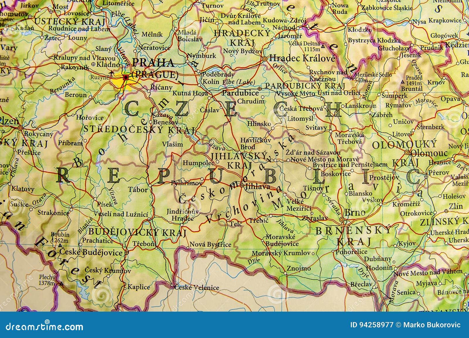 Repubblica Ceca Cartina Europa.Mappa Geografica Della Repubblica Ceca Del Paese Europeo Con Le Citta Importanti Immagine Stock Immagine Di Geografica Europeo 94258977