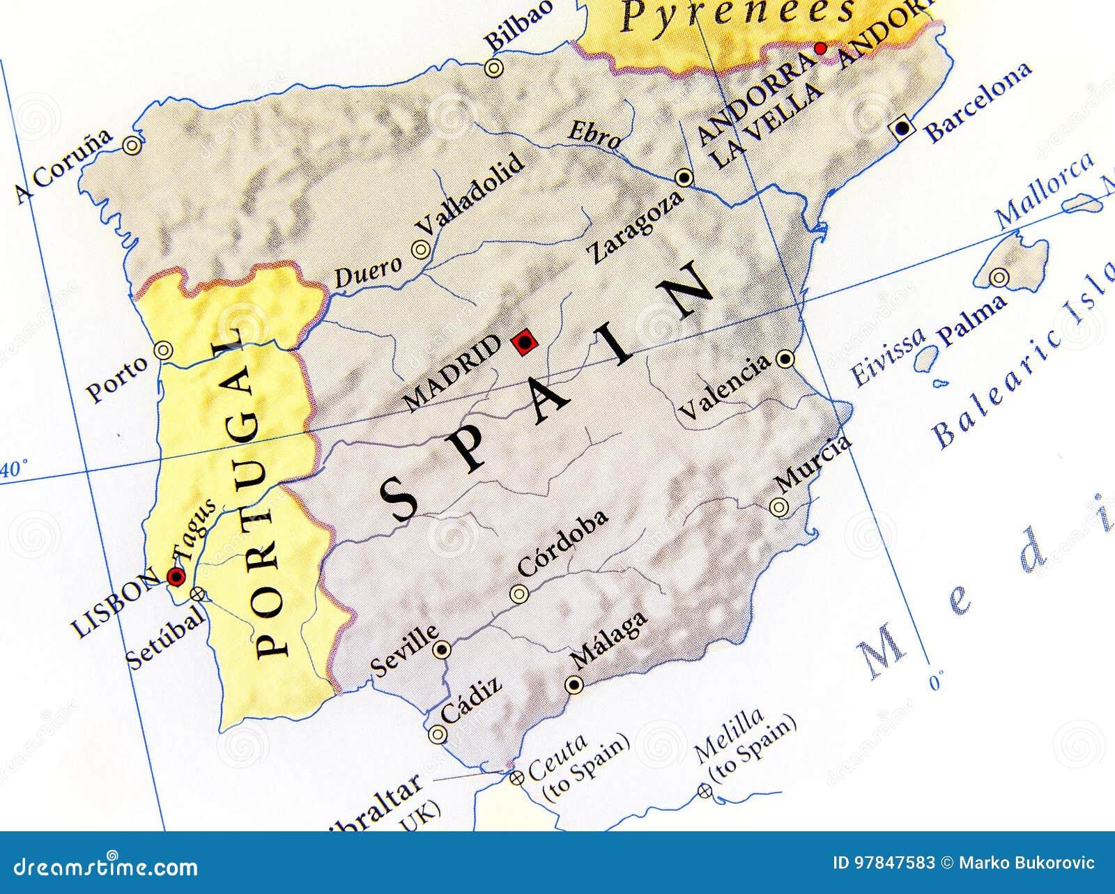 Cartina Della Spagna Geografica.Mappa Geografica Della Spagna Con Le Citta Importanti Immagine Stock Immagine Di Globo Bordo 97847583