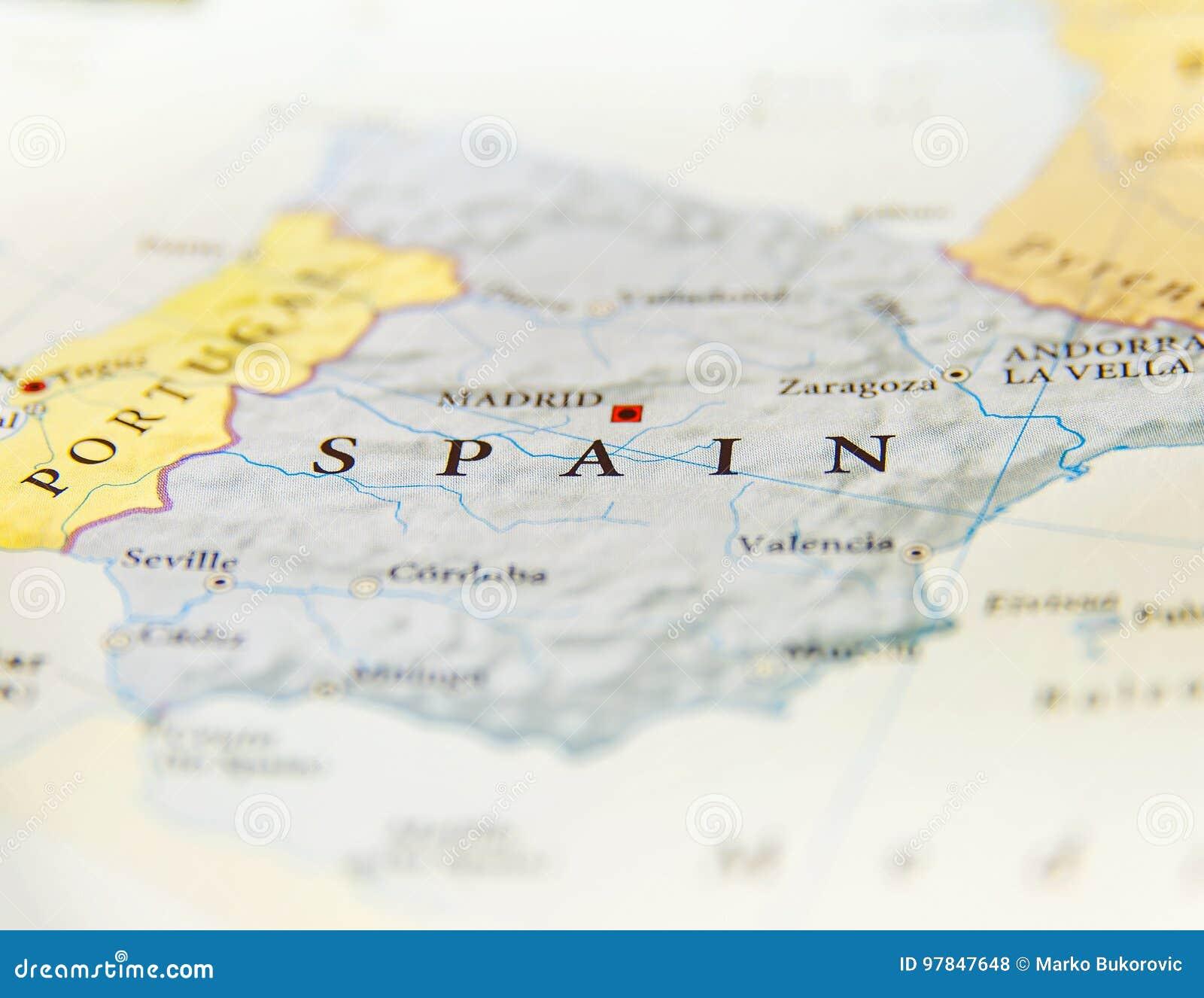 Saragozza Spagna Cartina Geografica.Mappa Geografica Della Spagna Con Le Citta Importanti Fotografia Stock Immagine Di Spruzzo Citta 97847648
