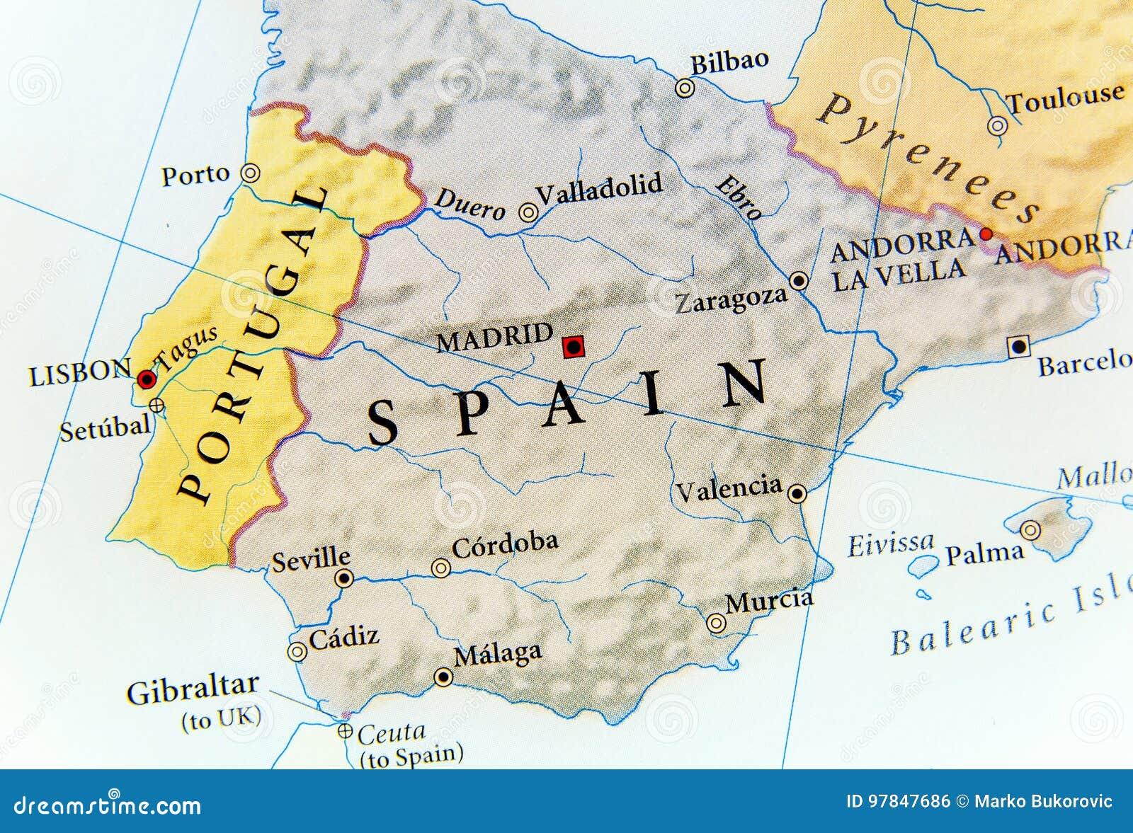 Cartina Della Spagna Geografica.Mappa Geografica Della Spagna Con Le Citta Importanti Fotografia Stock Immagine Di Regione Modello 97847686