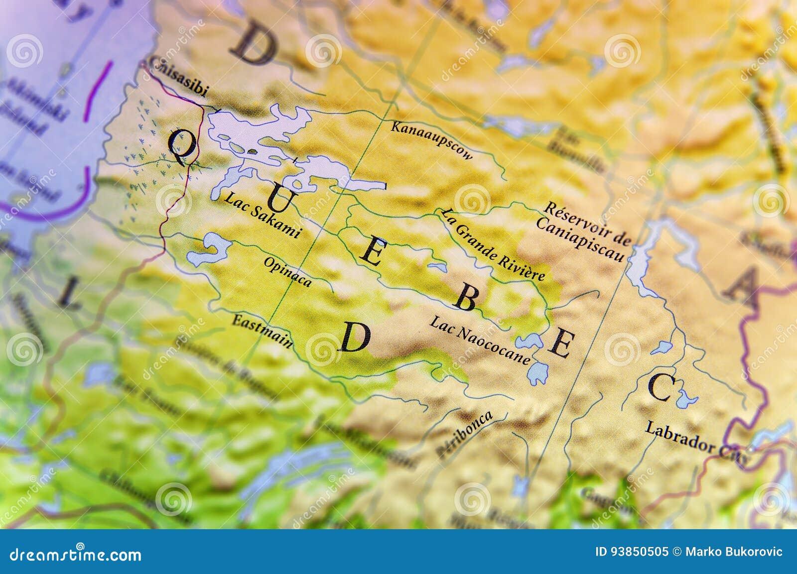 Mappa Geografica Dello Stato Quebec Del Canada Con Le Città