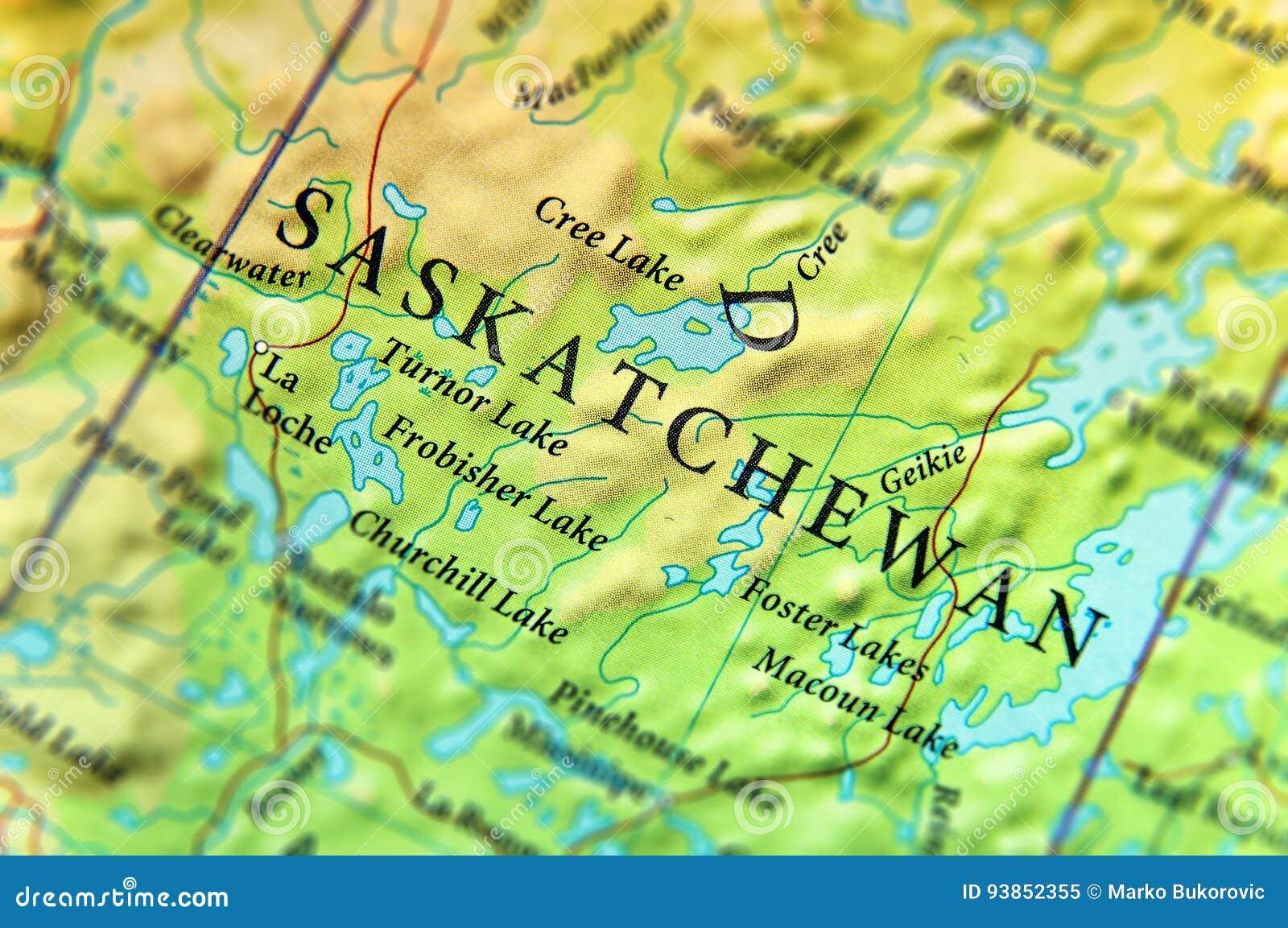 Mappa Geografica Dello Stato Saskatchewan Del Canada Con Le Città