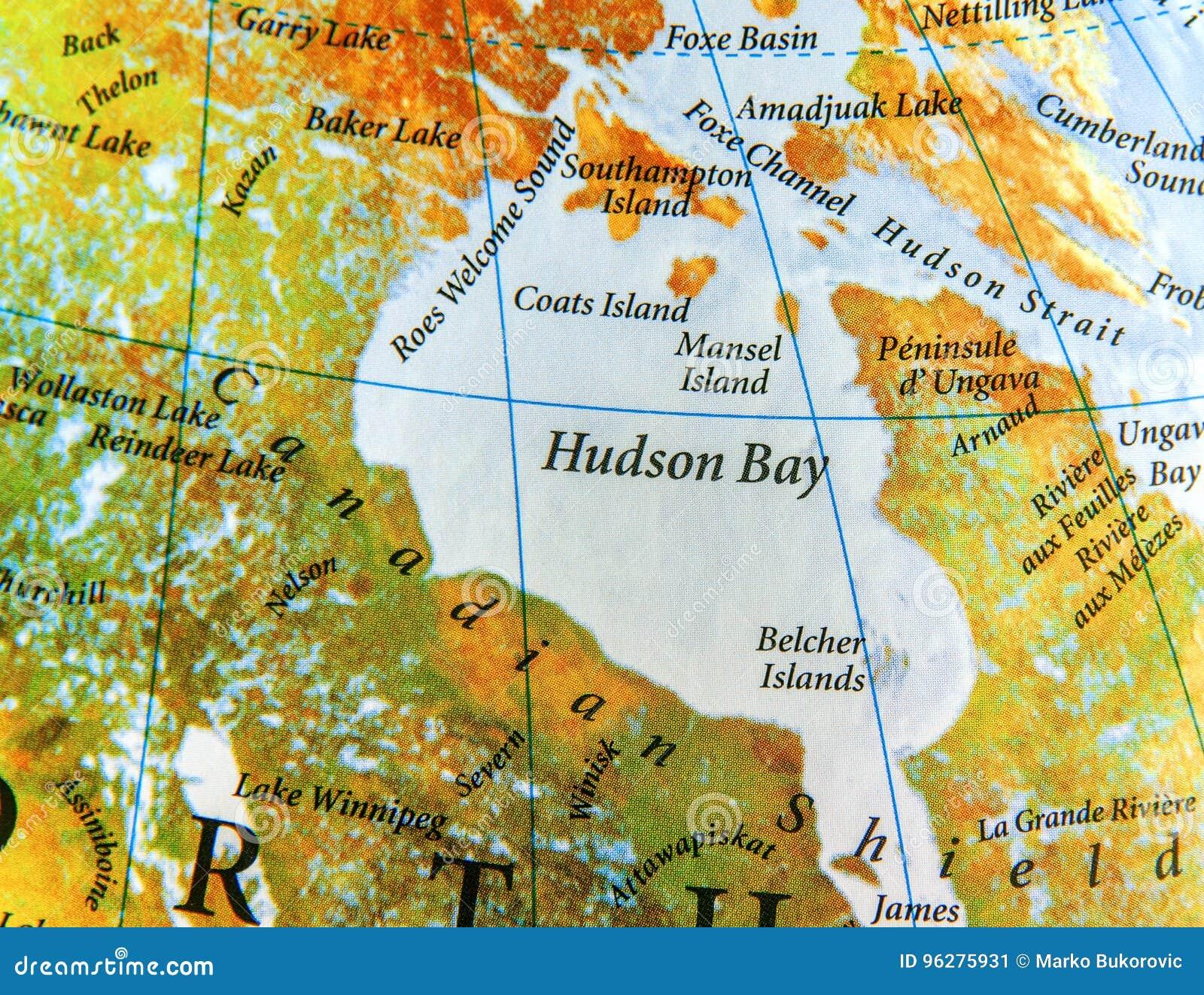 Mappa Geografica Di Hudson Bay Nel Paese Del Canada Immagine Stock