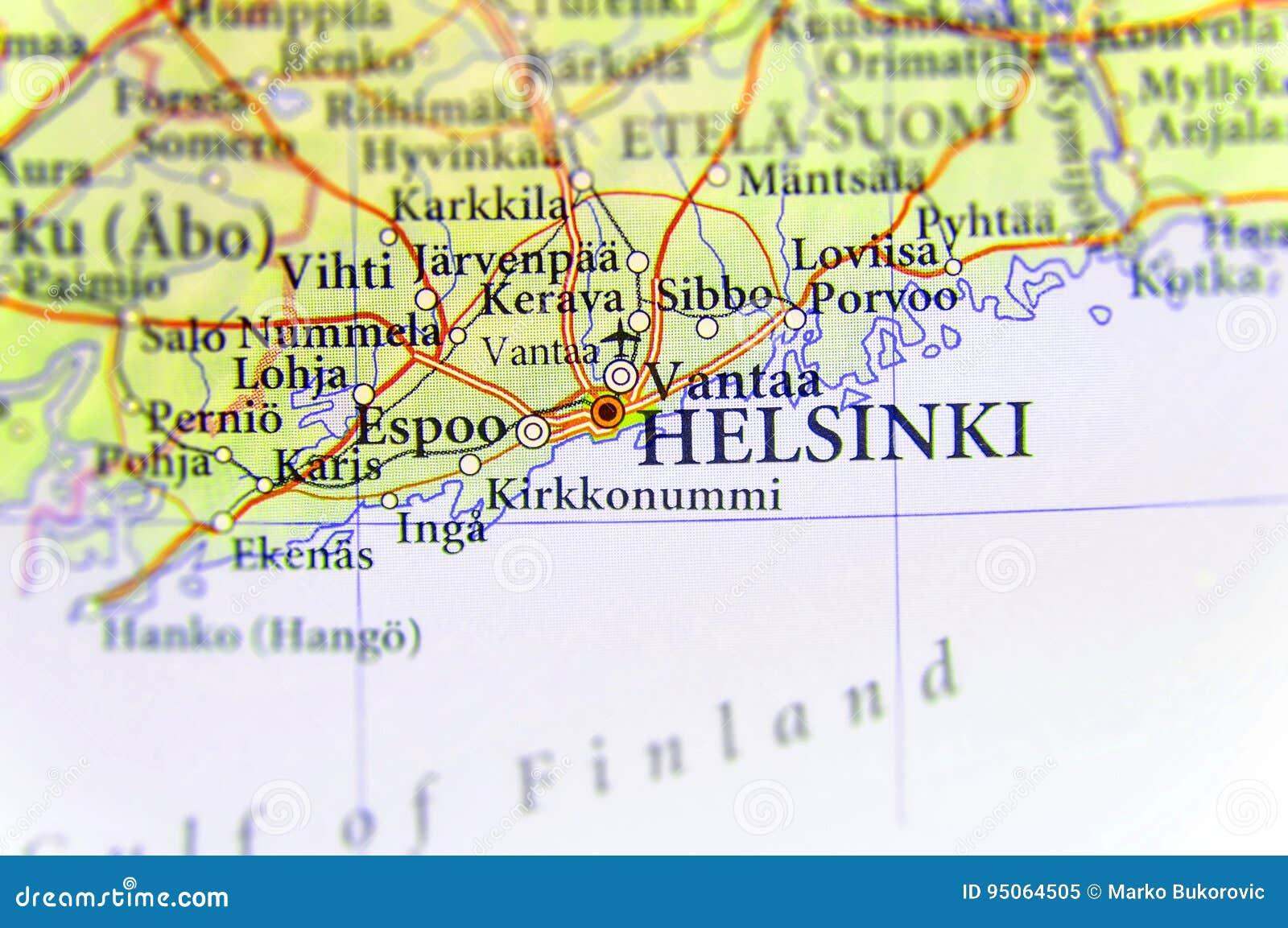 Cartina Geografica Europa Ovest.Mappa Geografica Di Paese Europeo Finlandia Con La Capitale