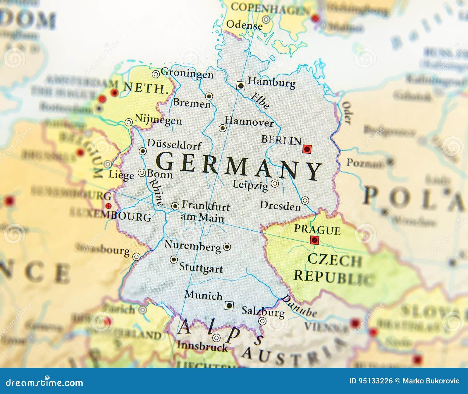 La Germania Cartina Geografica.Mappa Geografica Di Paese Europeo Germania Con Le Citta