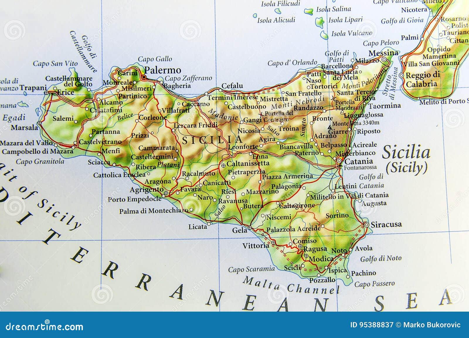 Cartina Politica Della Sicilia.Mappa Geografica Di Paese Europeo Italia Con L Isola Della