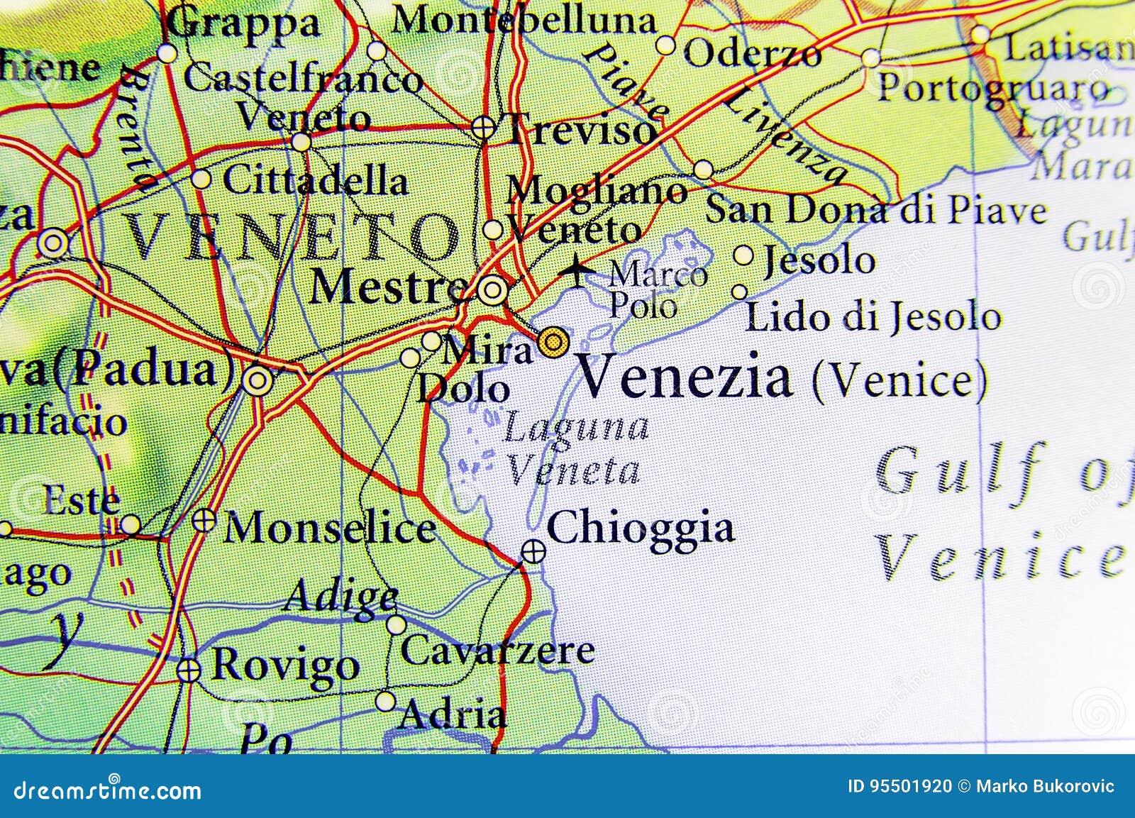 Cartina Stradale Venezia.Mappa Geografica Di Paese Europeo Italia Con La Citta Di Venezia Fotografia Stock Immagine Di Italia Corsa 95501920
