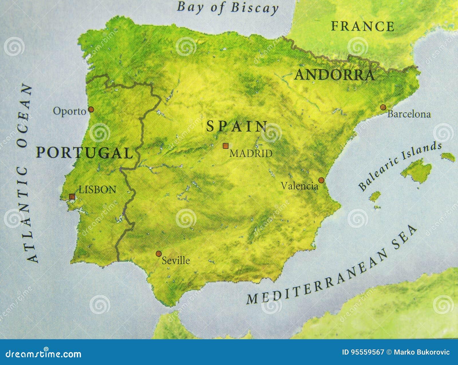 Cartina Citta Spagna.Mappa Geografica Di Paese Europeo Portogallo E Spagna Con Le