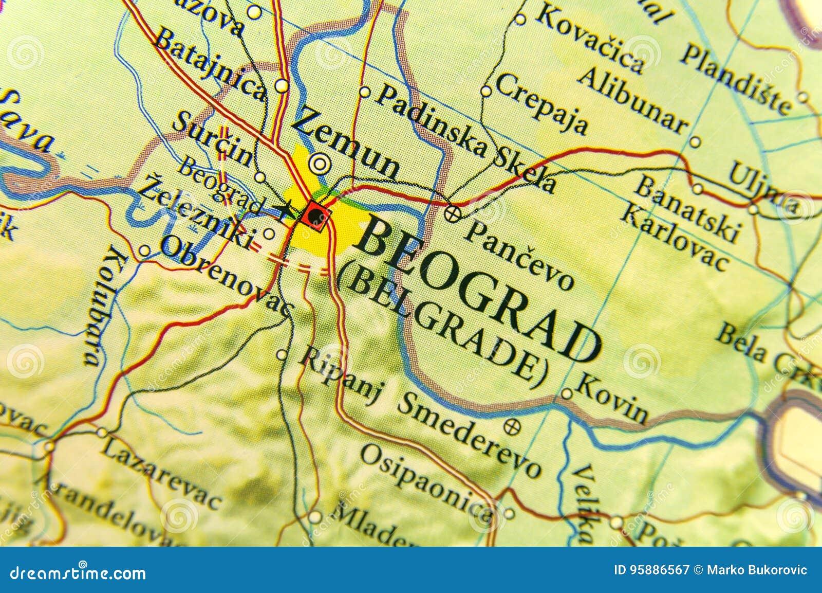 Mappa Geografica Di Paese Europeo Serbia Con La Città Di Belgrado