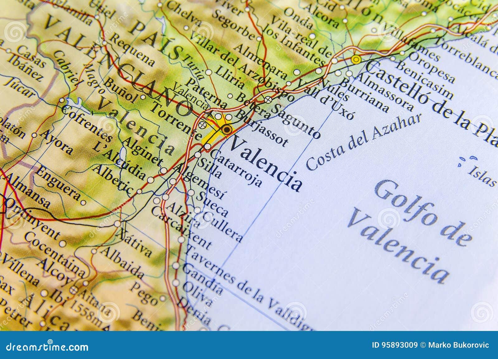 Gandia Spagna Cartina.Mappa Geografica Di Paese Europeo Spagna Con La Citta Di Valencia Immagine Stock Immagine Di Cartografia Atlante 95893009