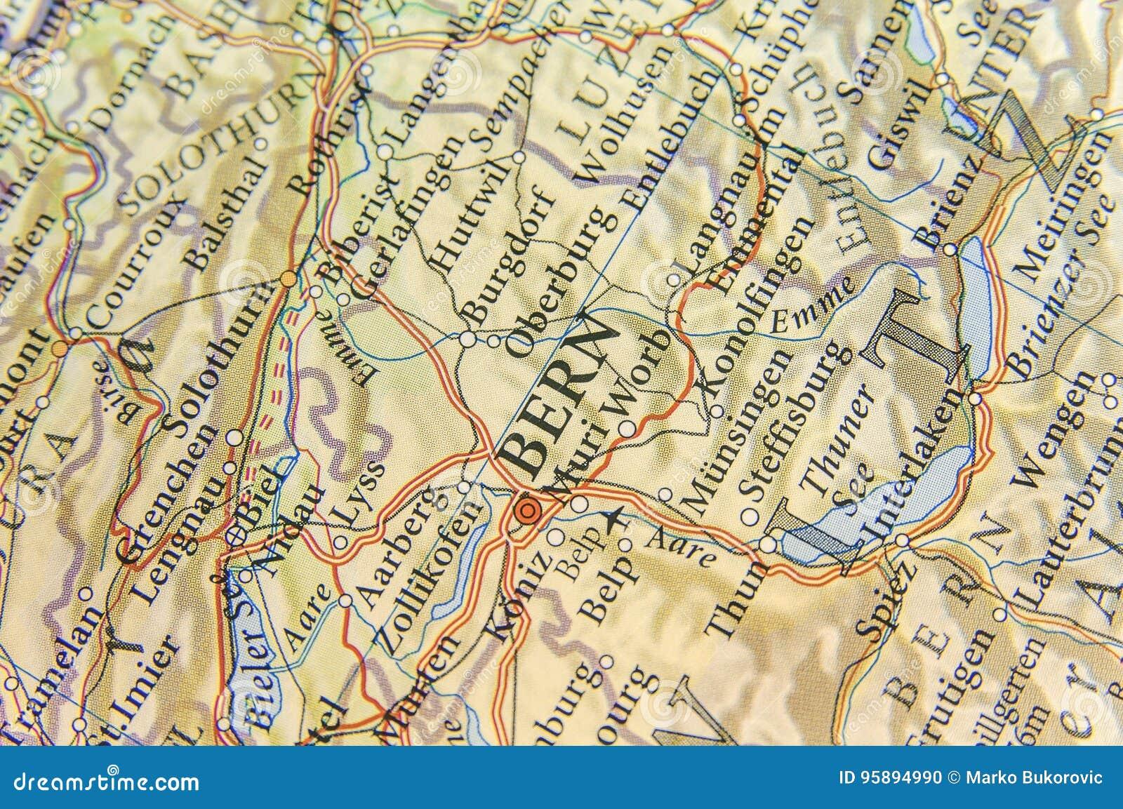 La Cartina Geografica Della Svizzera.Mappa Geografica Di Paese Europeo Svizzera Con La Citta Di Berna Della Capitale Fotografia Stock Immagine Di Geografia Paese 95894990