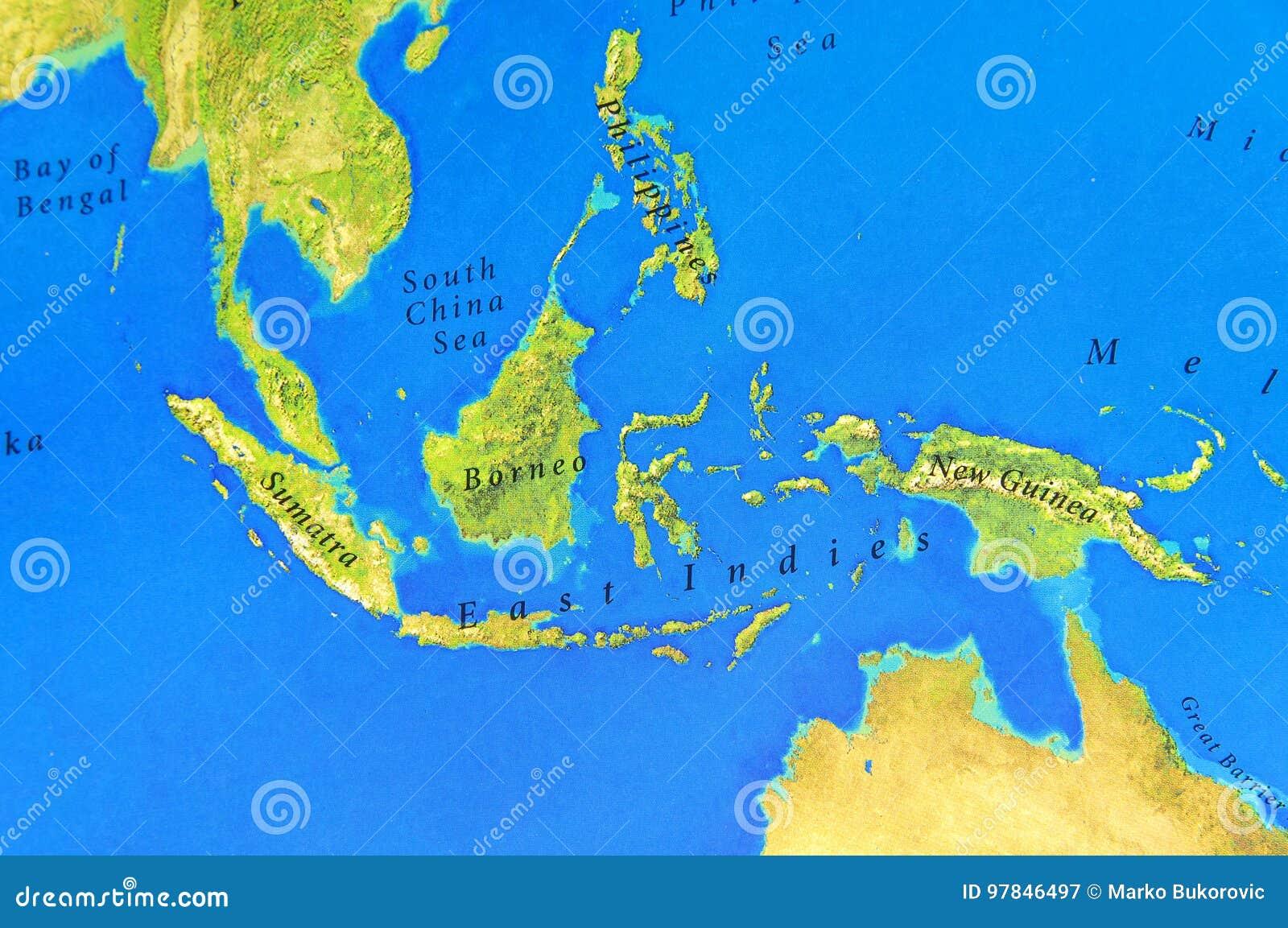 Cartina Geografica Isole Filippine.Mappa Geografica Di Sumatra Del Borneo Della Nuova Guinea E Di Filippine Immagine Stock Immagine Di Viaggio Paese 97846497