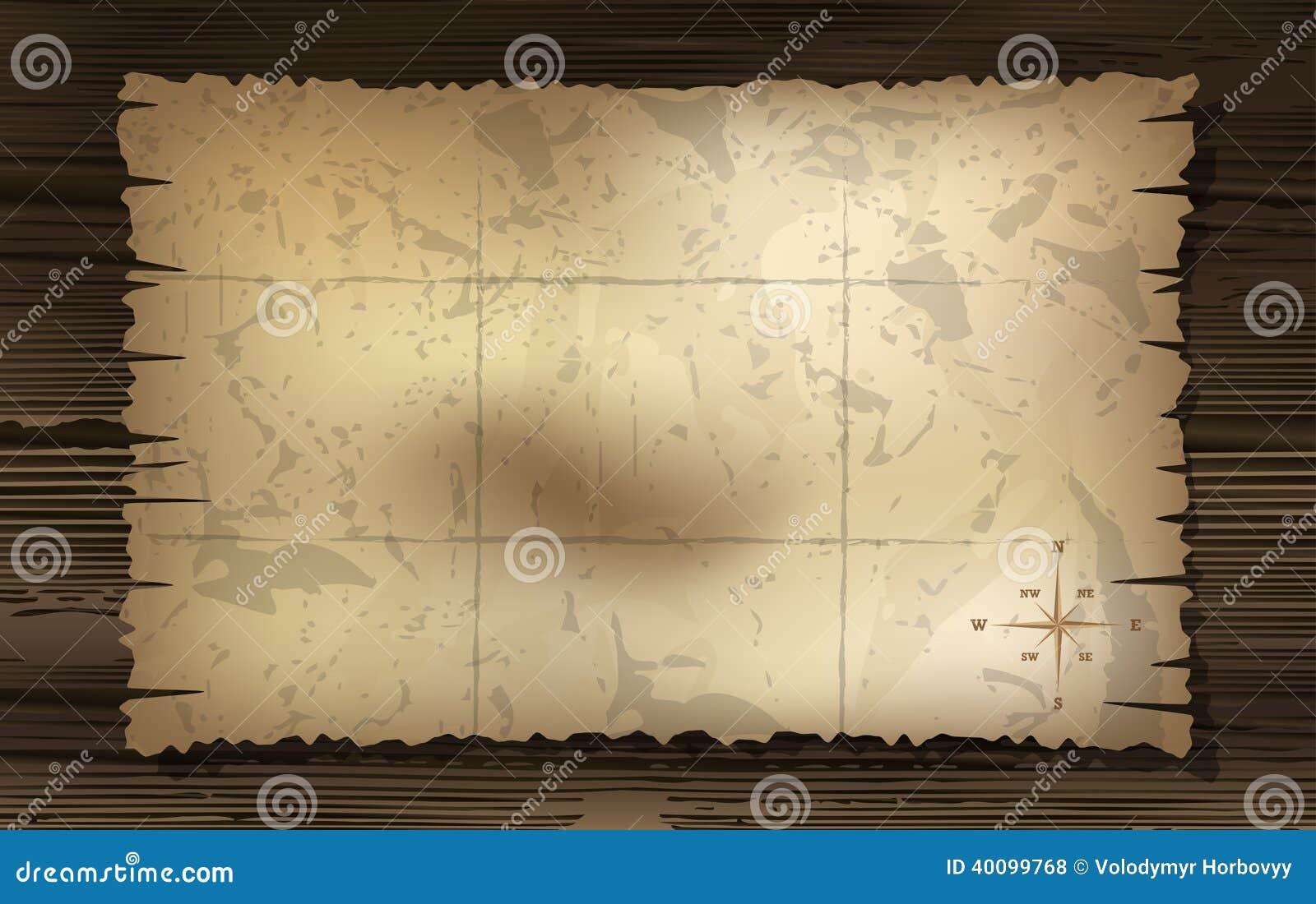 Mappa invecchiata del tesoro con il fondo della bussola