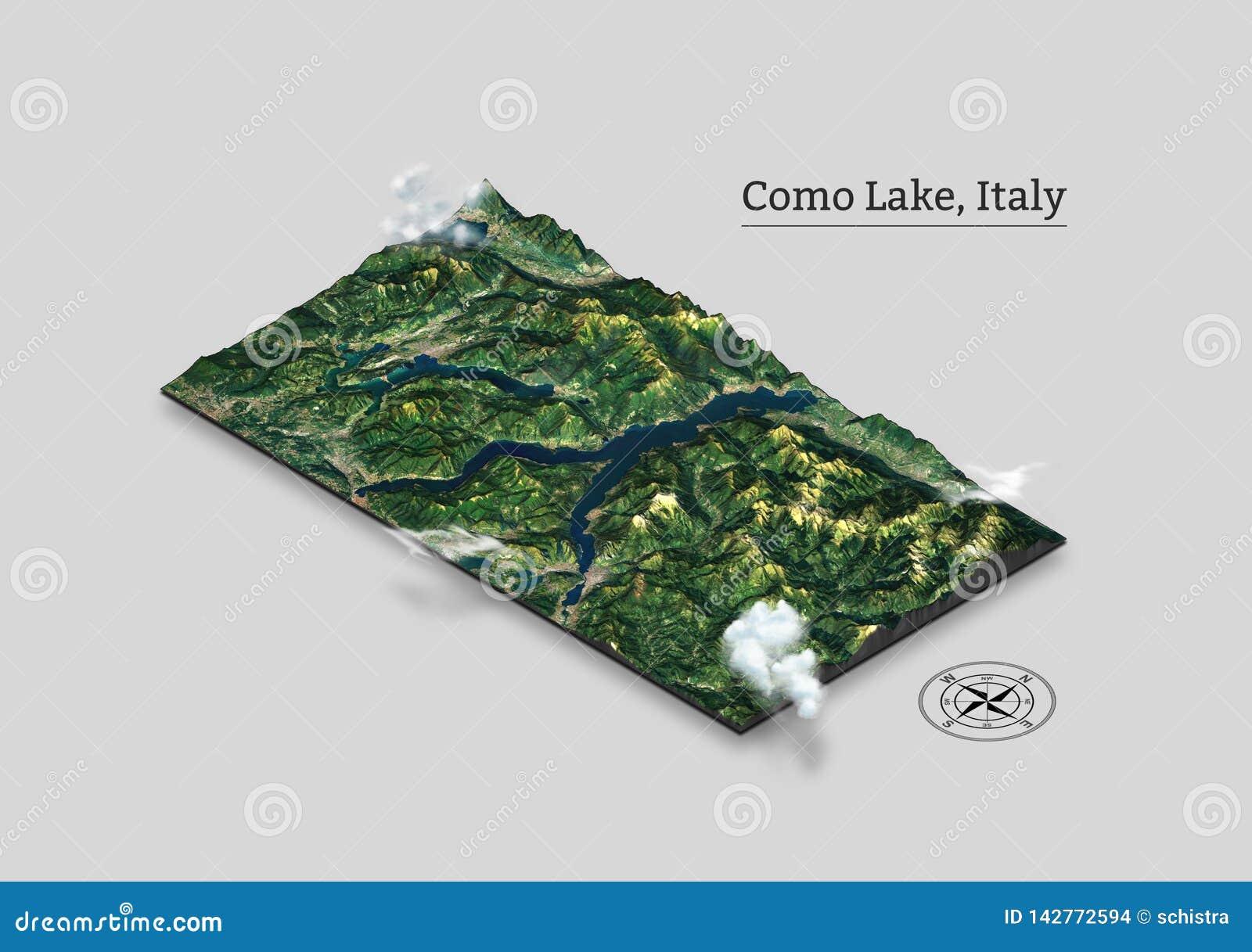 Mappa isometrica del lago Como, Italia