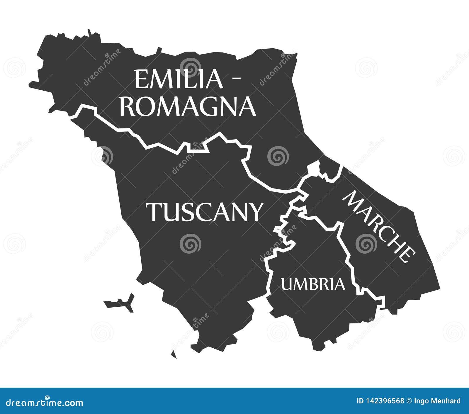Cartina Emilia Toscana.Mappa Italia Di Regione Dell Emilia Romagna Della Toscana Della Marche Dell Umbria Illustrazione Vettoriale Illustrazione Di Grafico Paese 142396568