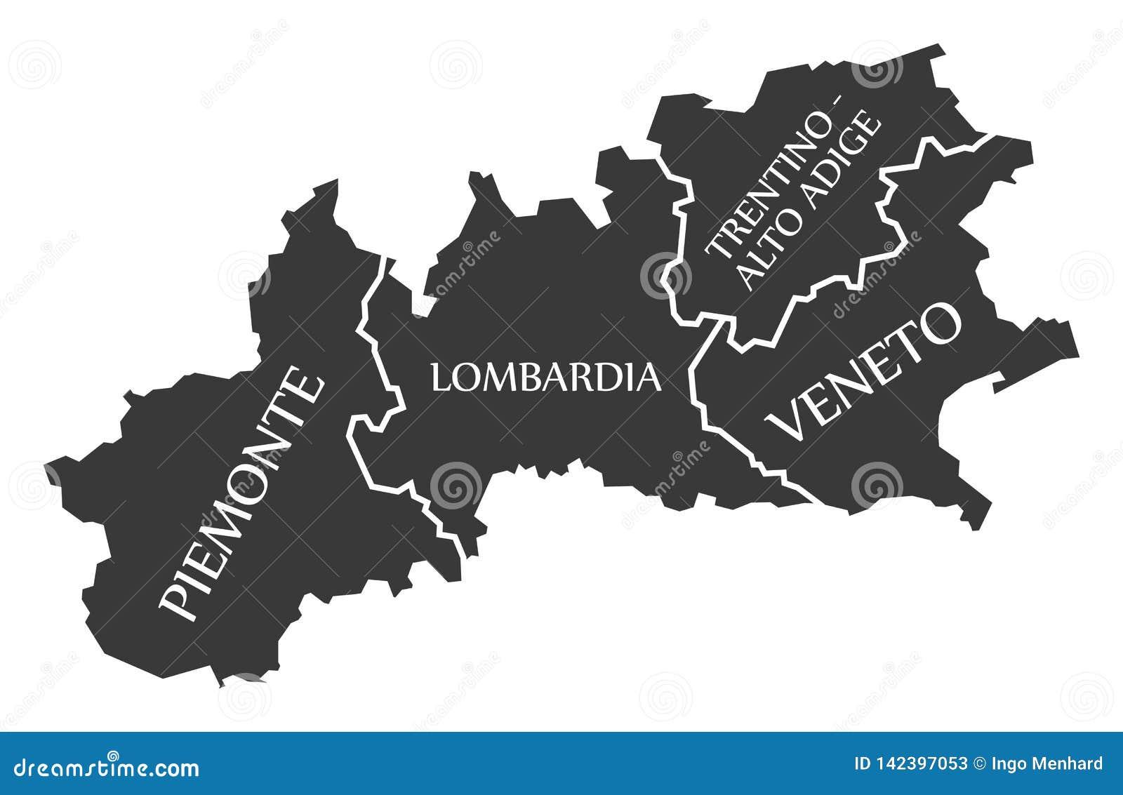 Cartina Lombardia E Piemonte.Mappa Italia Di Regione Di Piemonte Di Lombardia Di Trentino Di Alto Adige Di Veneto Illustrazione Di Stock Illustrazione Di Nero Zona 142397053