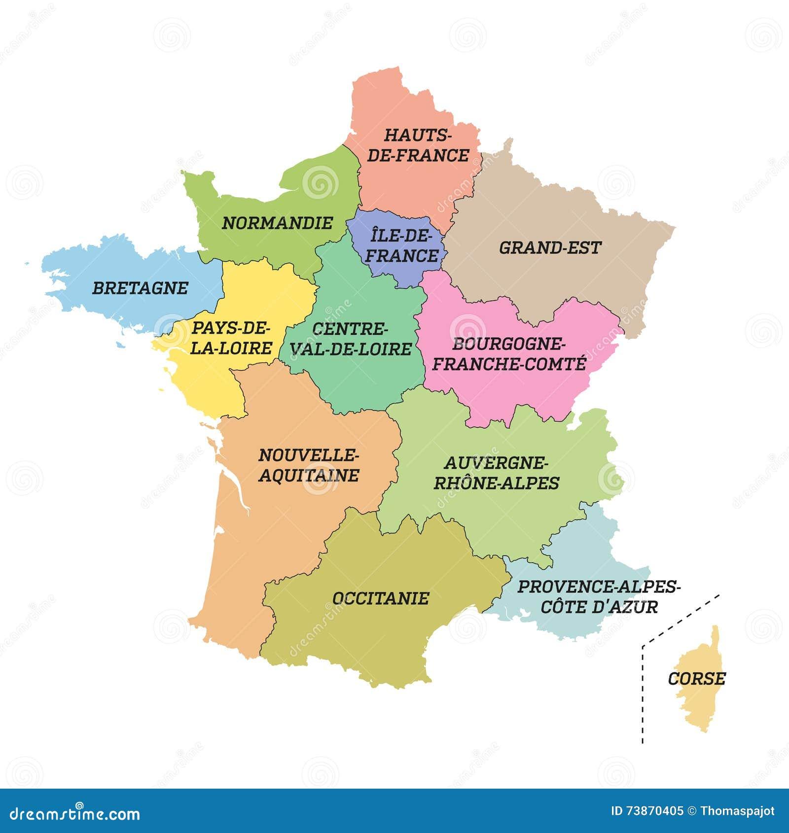 Francia Regioni Cartina.Mappa Metropolitana Della Francia Con Le Nuove Regioni