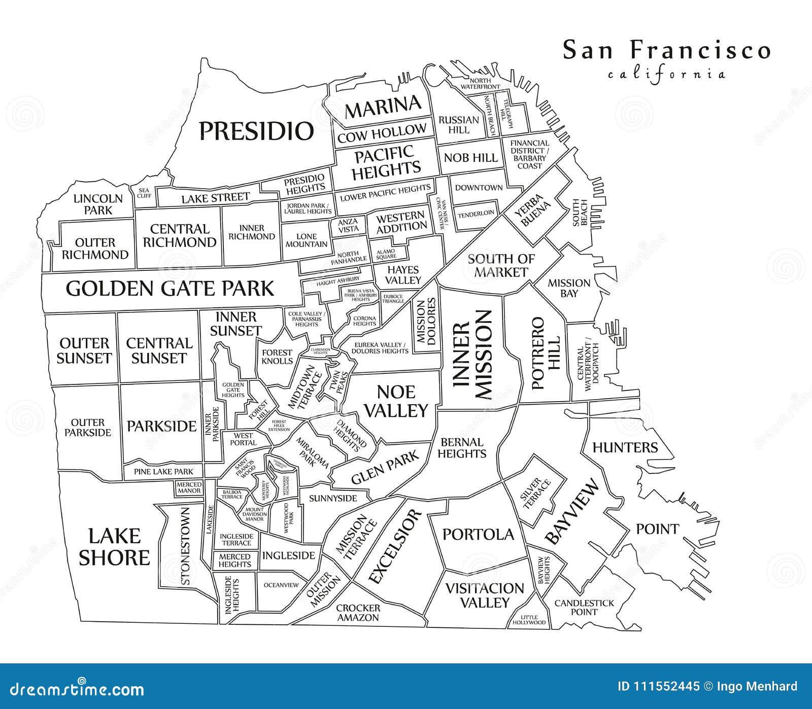Mappa moderna - città di San Francisco di U.S.A.