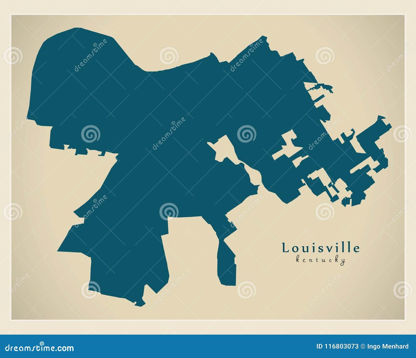 Mappa moderna della città - città di Louisville Kentucky di U.S.A.