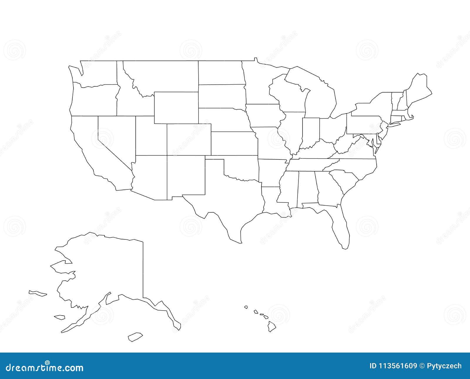 Mappa nera in bianco di U.S.A., Stati Uniti d America del profilo di vettore