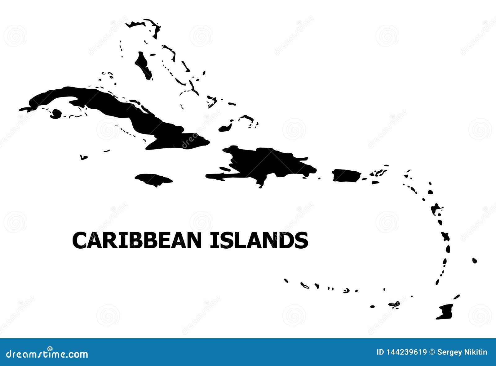 Mappa piana di vettore delle isole dei Caraibi con il nome
