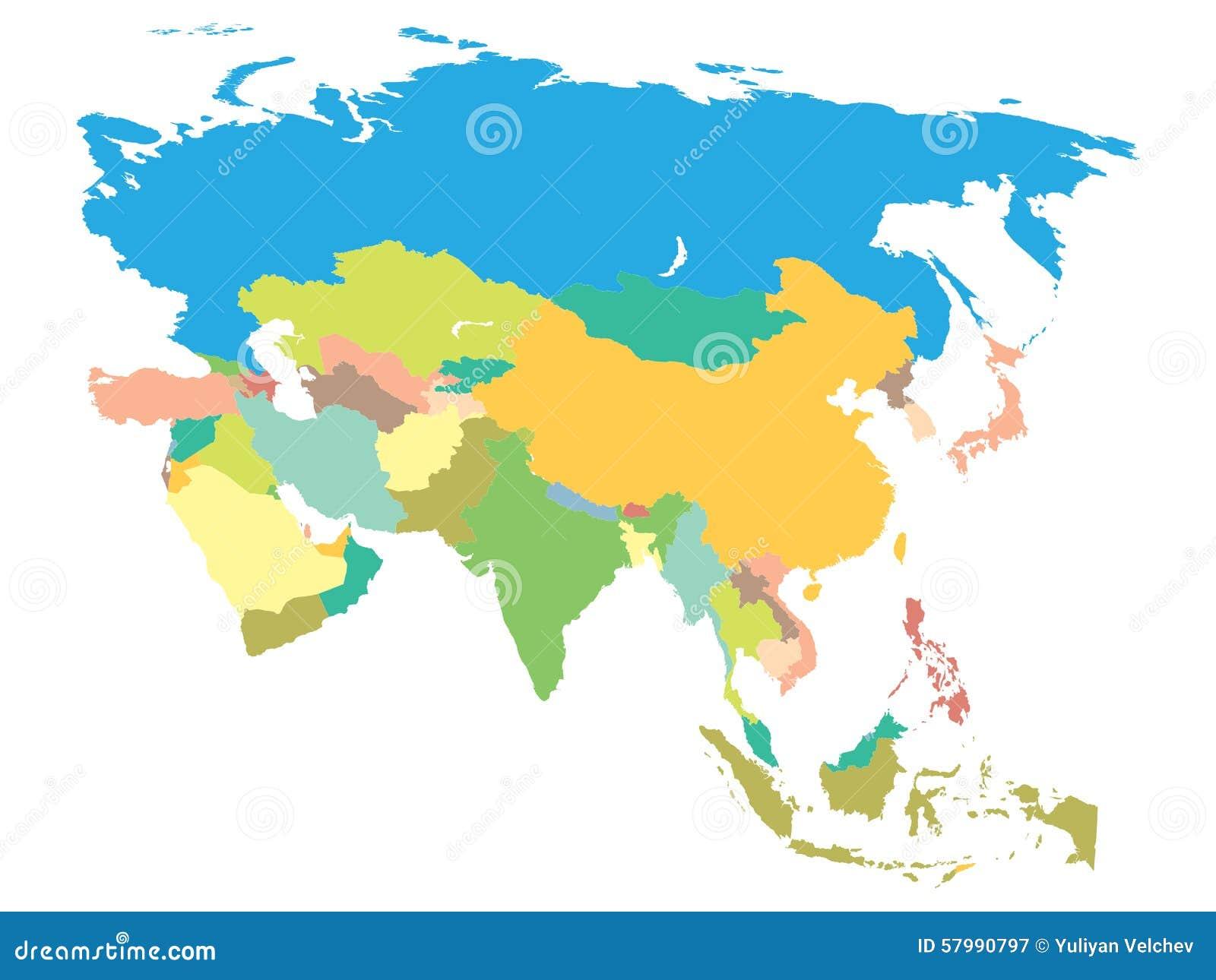 Asia Politica Cartina.Mappa Politica Asia Illustrazione Vettoriale Illustrazione