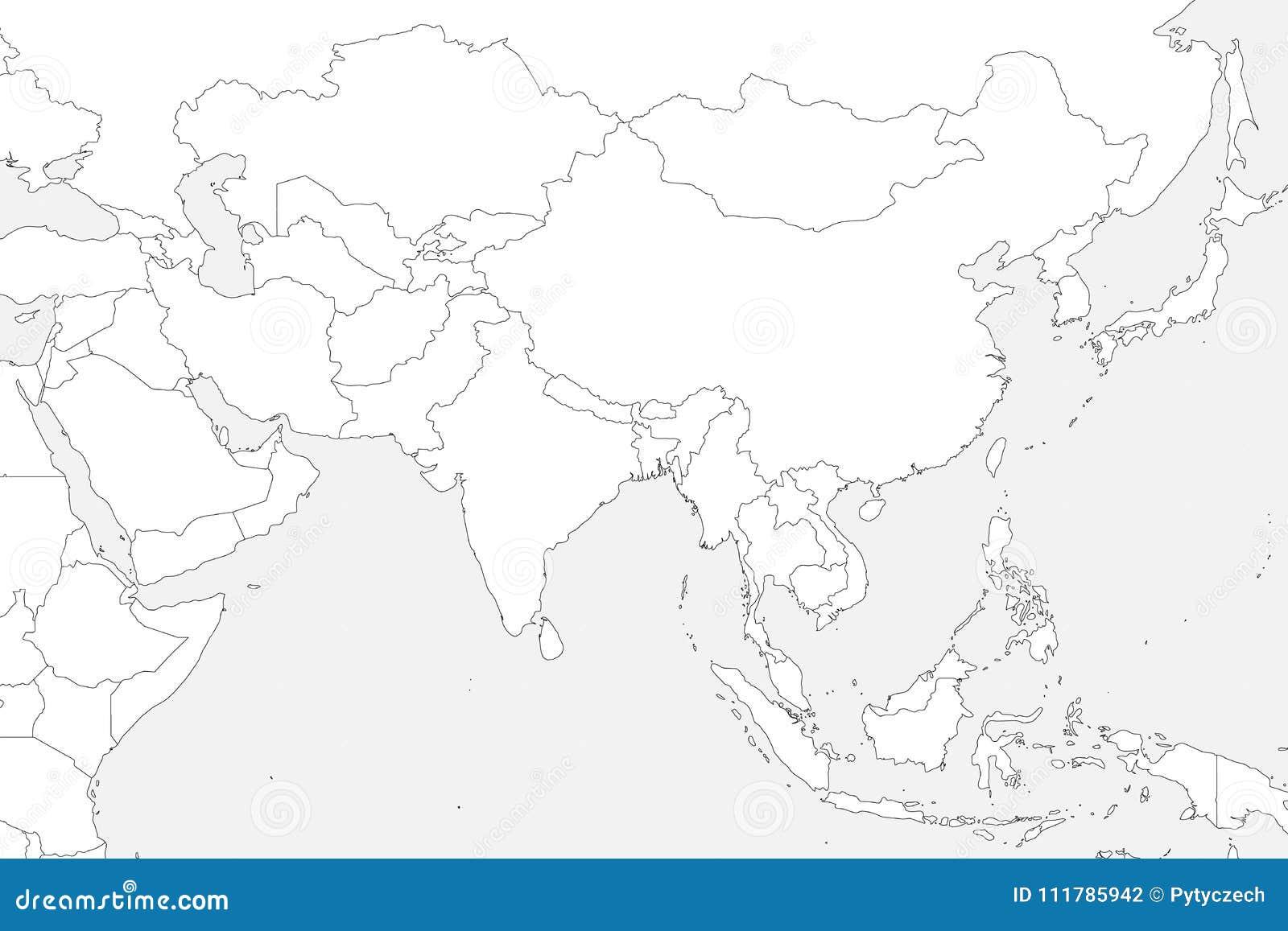 Mappa politica in bianco di occidentale, di del sud e l Asia orientale Il profilo nero sottile rasenta il fondo grigio chiaro Vet