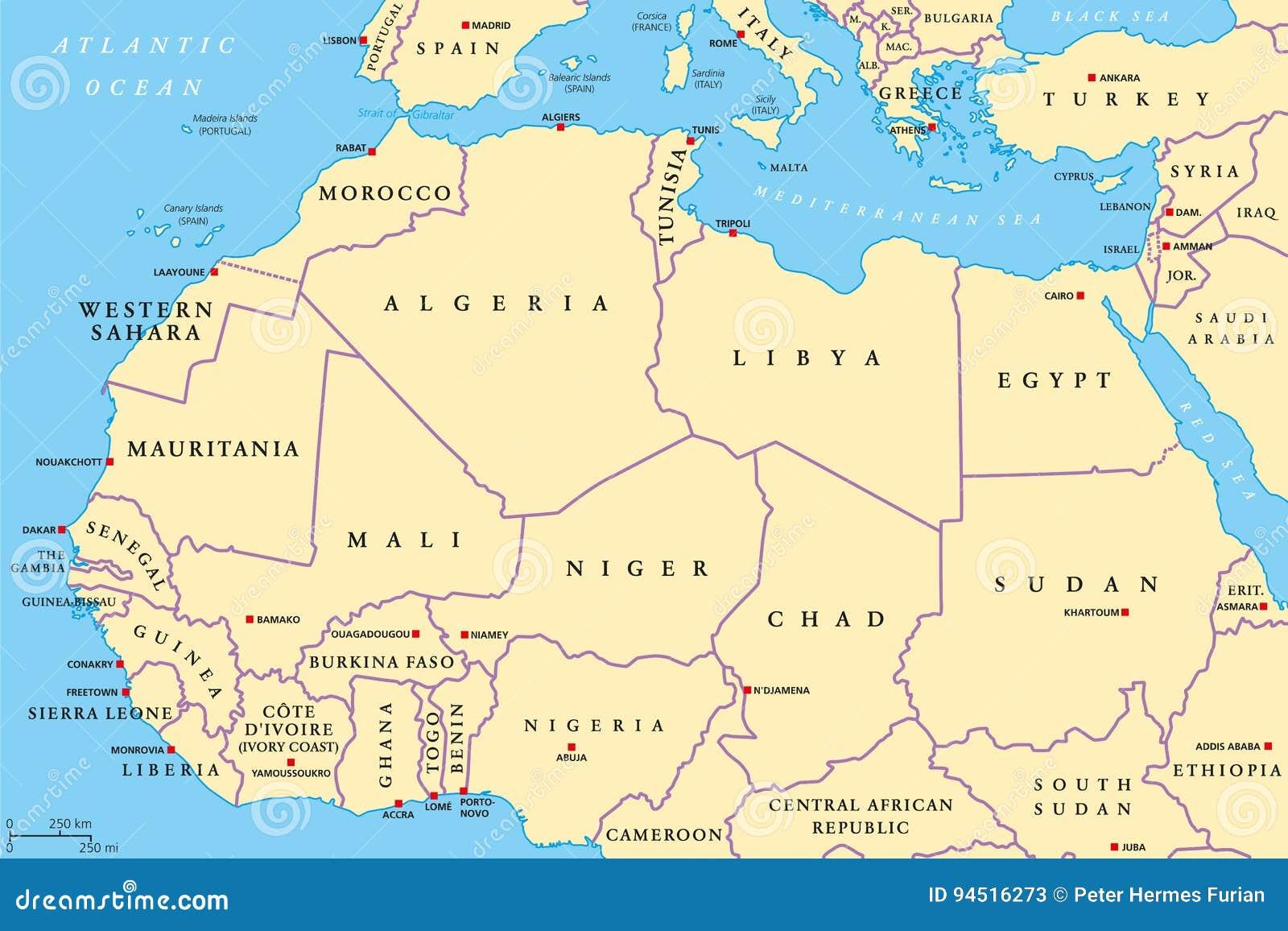 Cartina Africa Con Stati E Capitali.Mappa Politica Dei Paesi Del Nord Africa Illustrazione