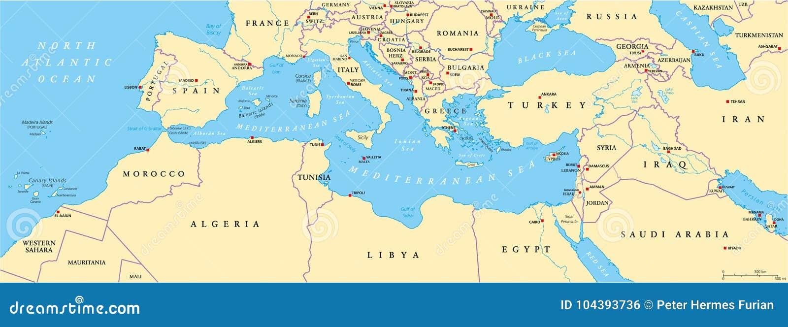 Cartina Fisica Mediterraneo Orientale.Mappa Politica Del Bacino Del Mediterraneo Illustrazione Vettoriale Illustrazione Di Europa Orientale 104393736