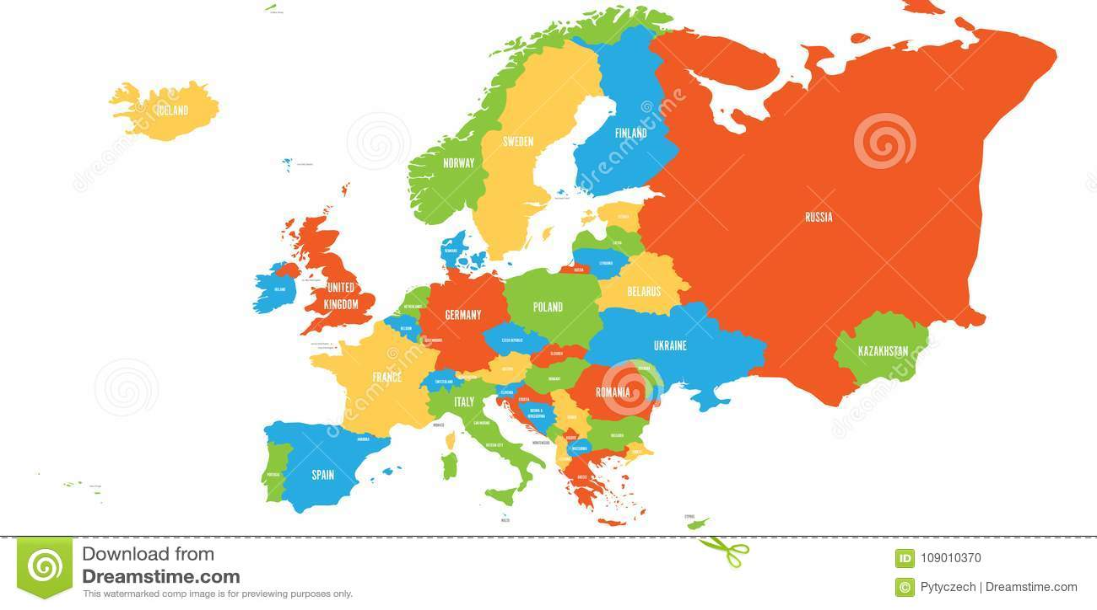 Mappa politica del continente di europa in quattro colori - Mappa di ungheria ed europa ...