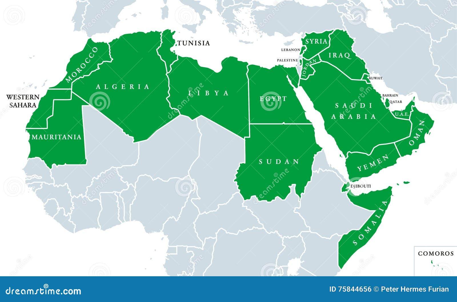 Mondo Arabo Cartina.Mappa Politica Del Mondo Arabo Illustrazione Vettoriale Illustrazione Di Oman Cartografia 75844656