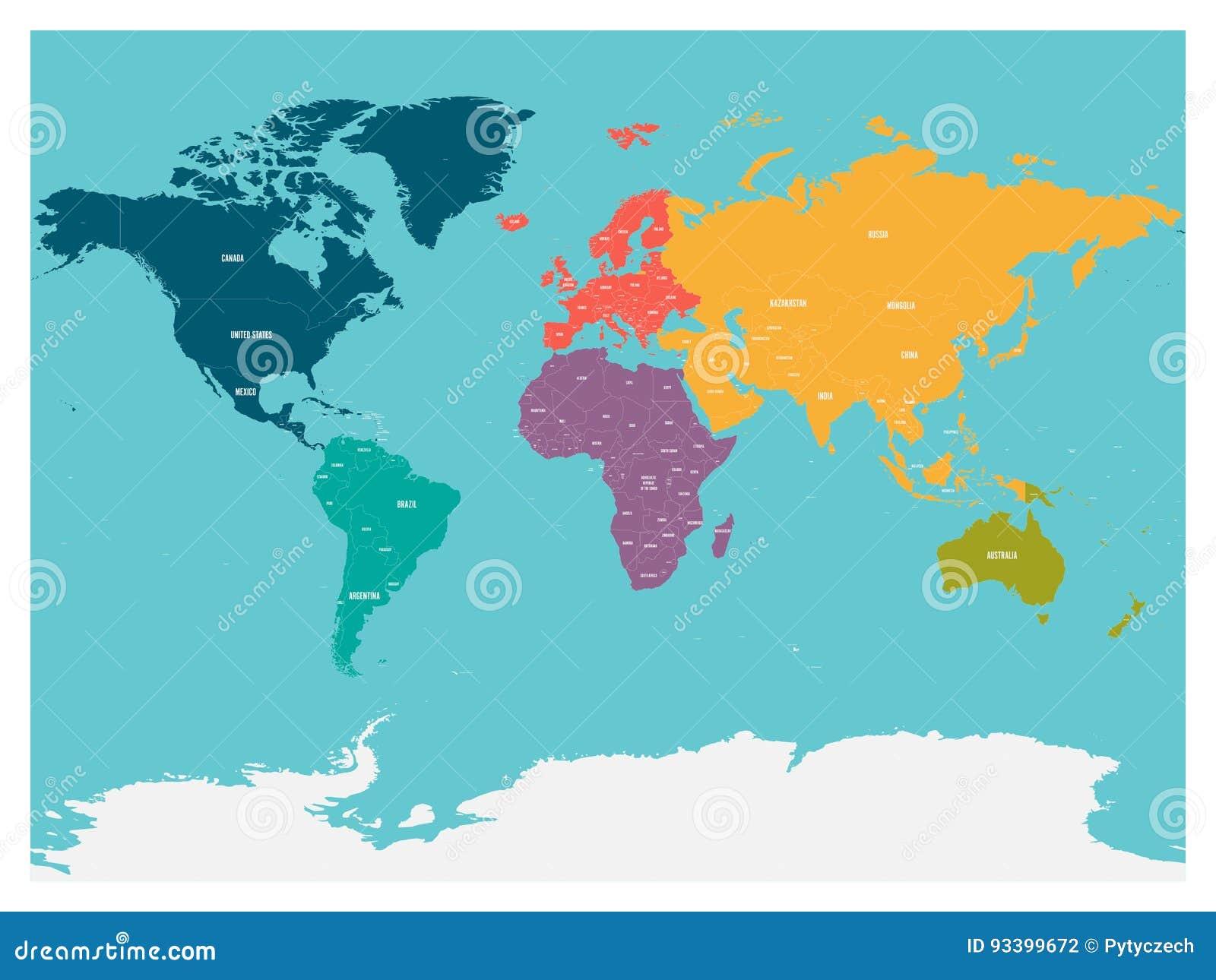 Cartina Mondo Con Nomi Stati.Mappa Politica Del Mondo Con L Antartide Continenti Nei Colori Differenti Su Fondo Blu Illustrazione Vettoriale Illustrazione Di Piano Bordo 93399672