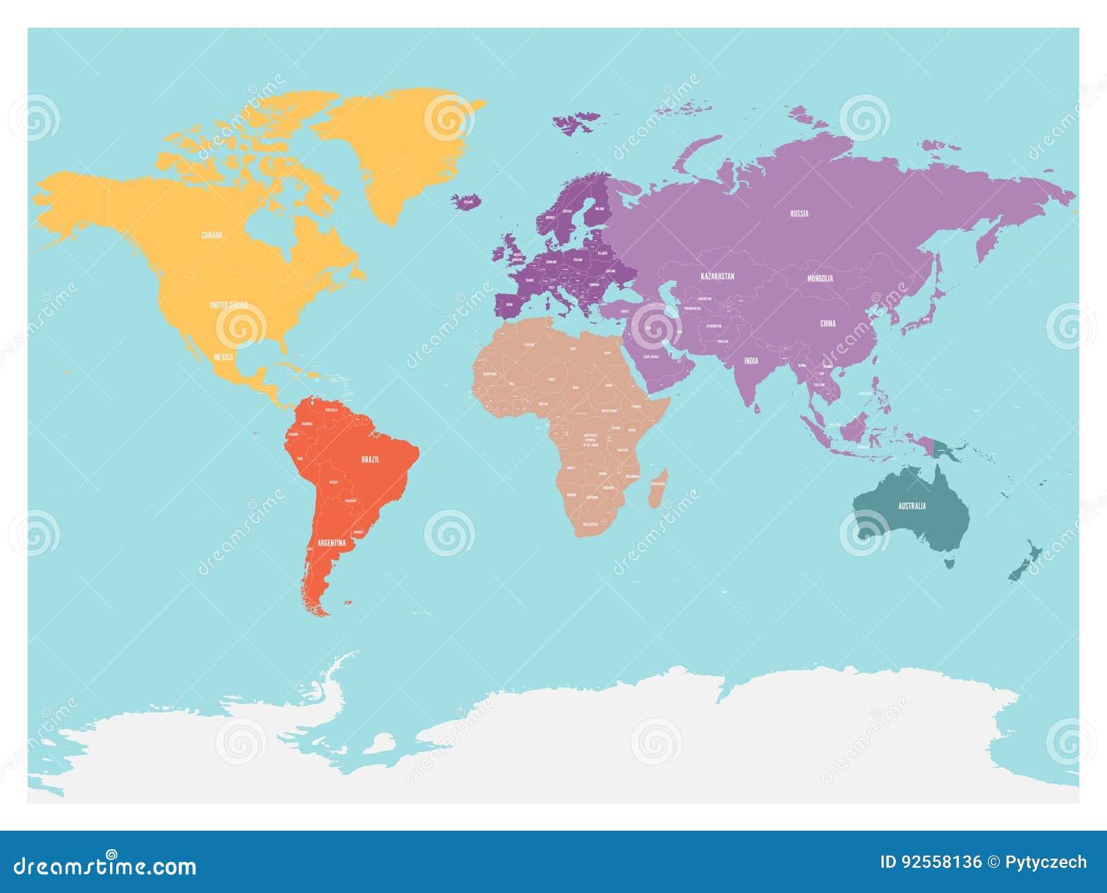 Cartina Del Mondo Con Continenti.Mappa Politica Del Mondo Con L Antartide Continenti Nei