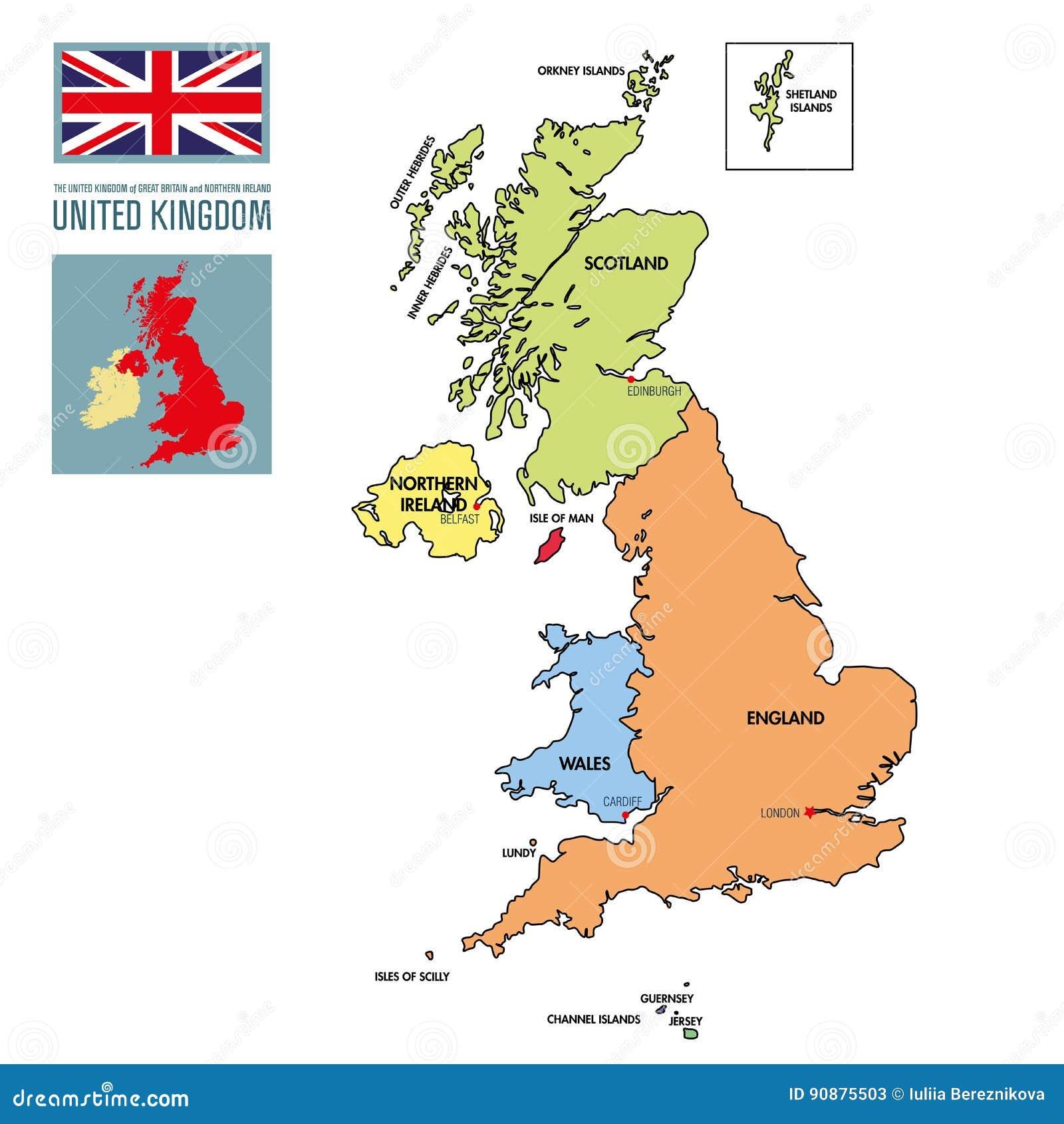 Cartina Politica Regno Unito In Italiano.Mappa Politica Del Regno Unito Con Le Regioni E Le Loro Capitali Illustrazione Vettoriale Illustrazione Di Bandierina Britannico 90875503