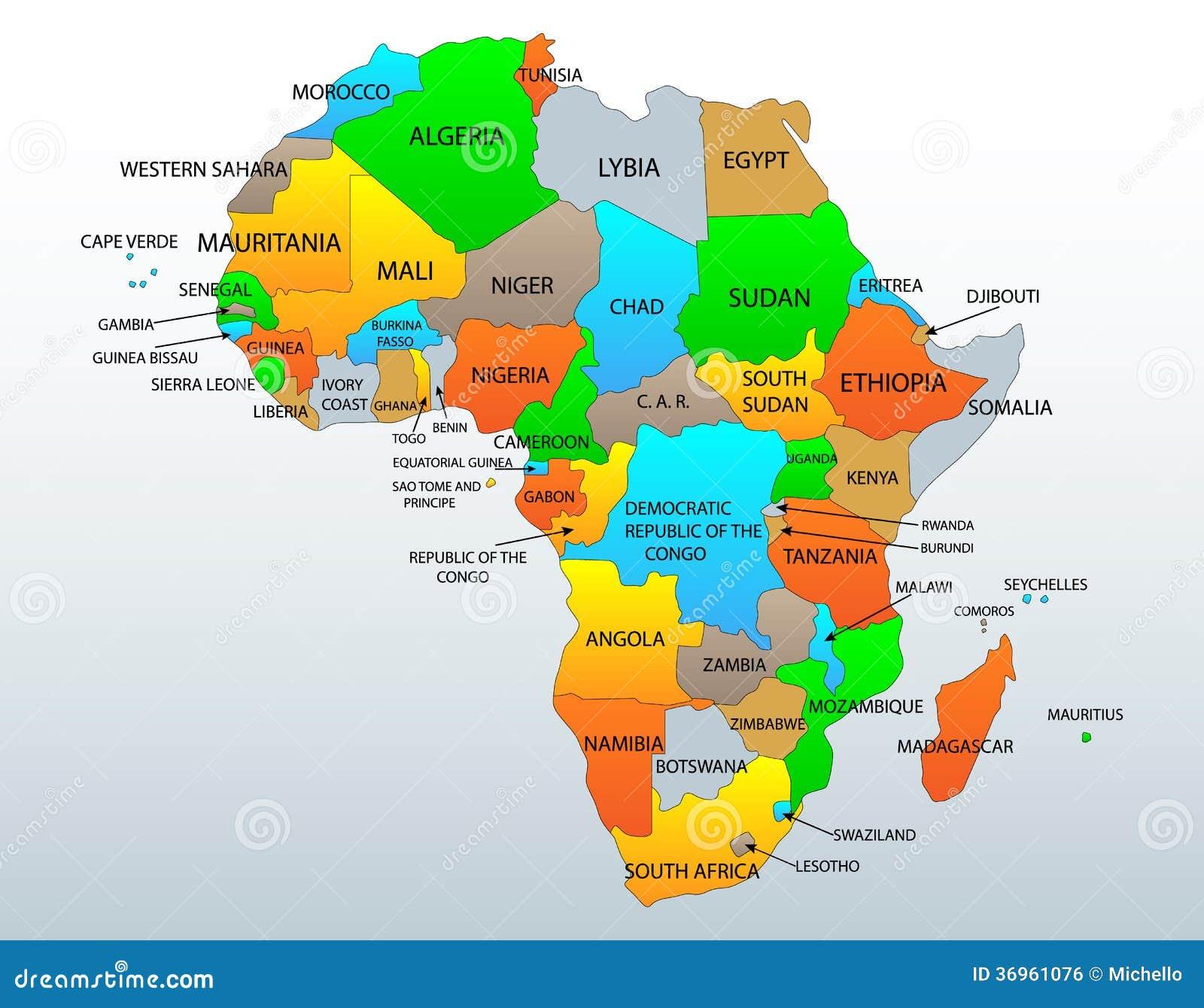 Cartina Africa In Italiano.Mappa Politica Dell Africa Illustrazione Vettoriale Illustrazione Di Illustrazione 36961076