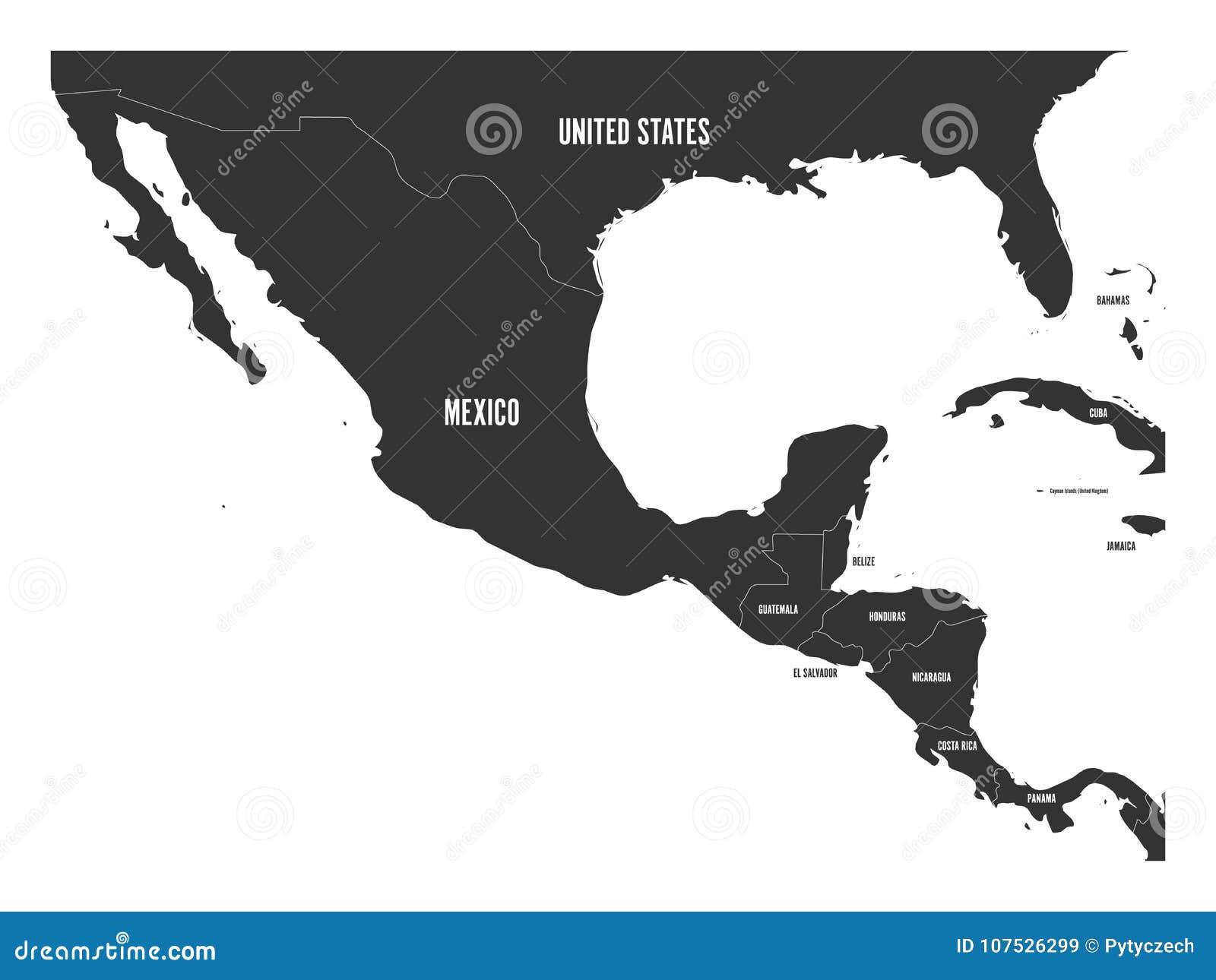 Mappa politica dell America Centrale e del Messico in grigio scuro Illustrazione piana semplice di vettore