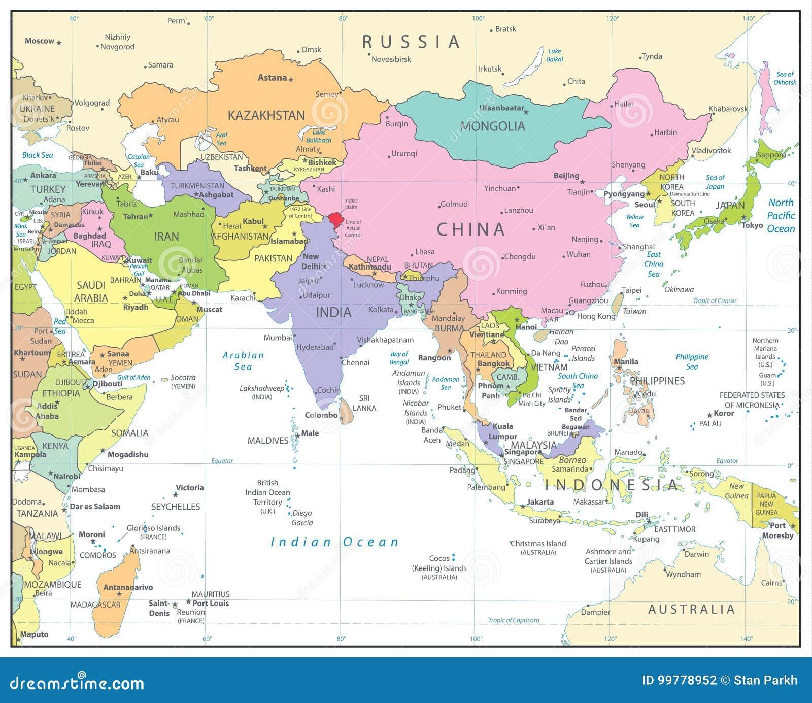La Cartina Geografica Dell Asia.Mappa Politica Dell Asia Meridionale Isolata Su Bianco