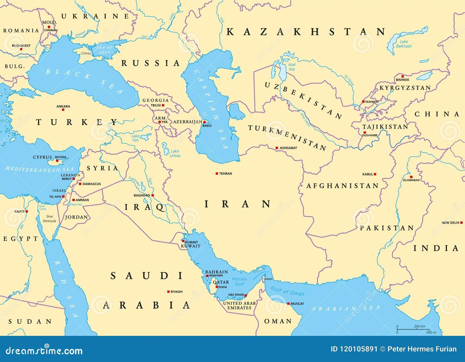 Cartina Asia Occidentale.Mappa Politica Dell Asia Occidentale Illustrazione Vettoriale Illustrazione Di Paese Golfo 120105891