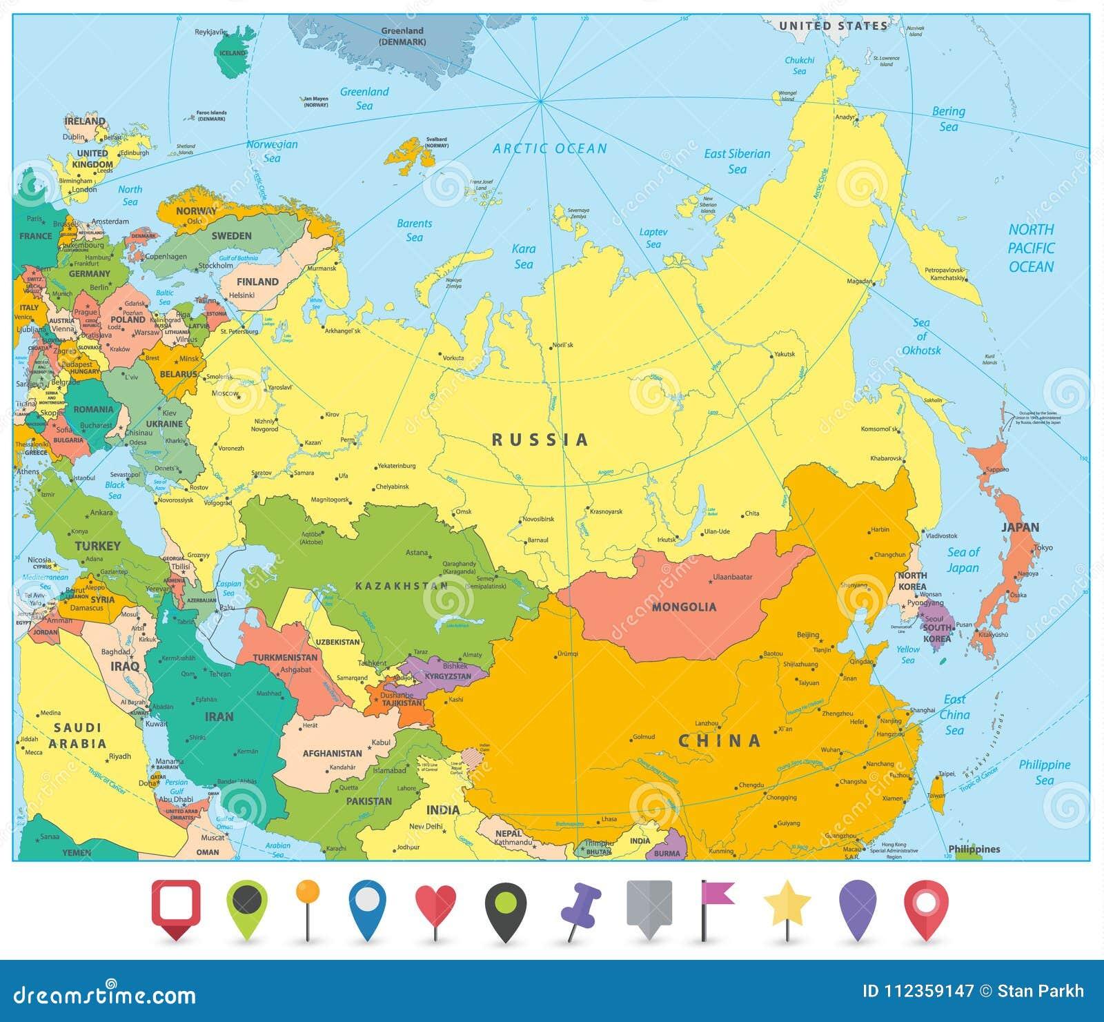 Cartina Politica Russia In Italiano.Mappa Politica Dell Eurasia E Puntatori Piani Della Mappa Illustrazione Vettoriale Illustrazione Di China Europa 112359147