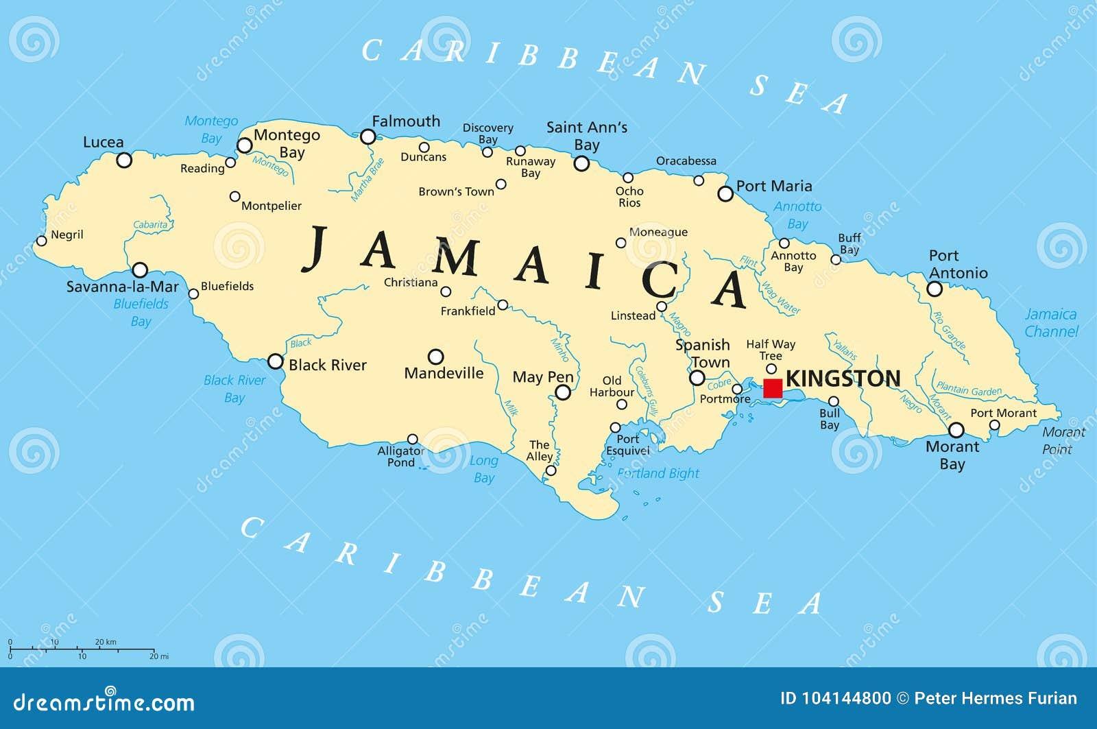 Cartina Politica Dei Caraibi.Mappa Politica Della Giamaica Illustrazione Vettoriale