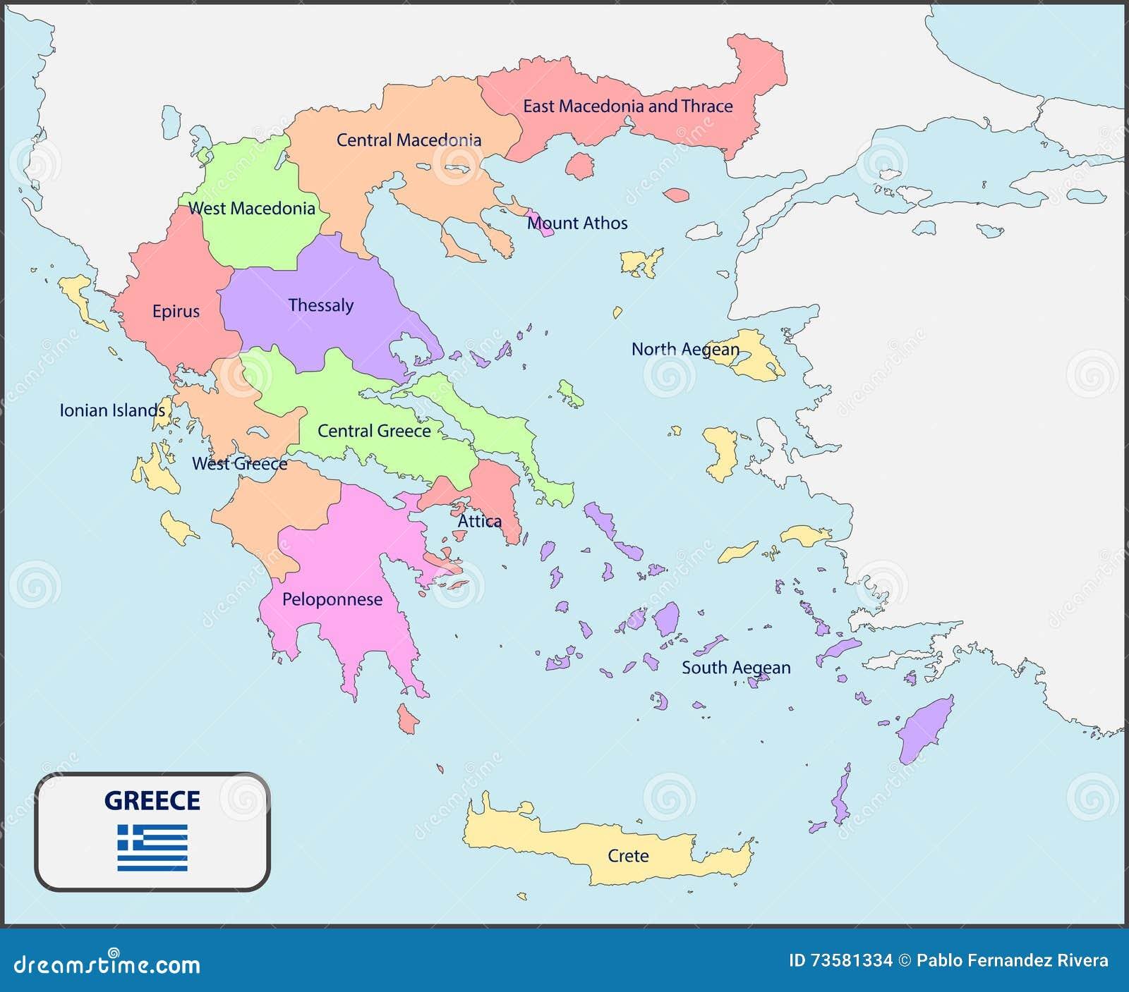 Mappa politica della grecia con i nomi illustrazione for Cartina della grecia antica da stampare